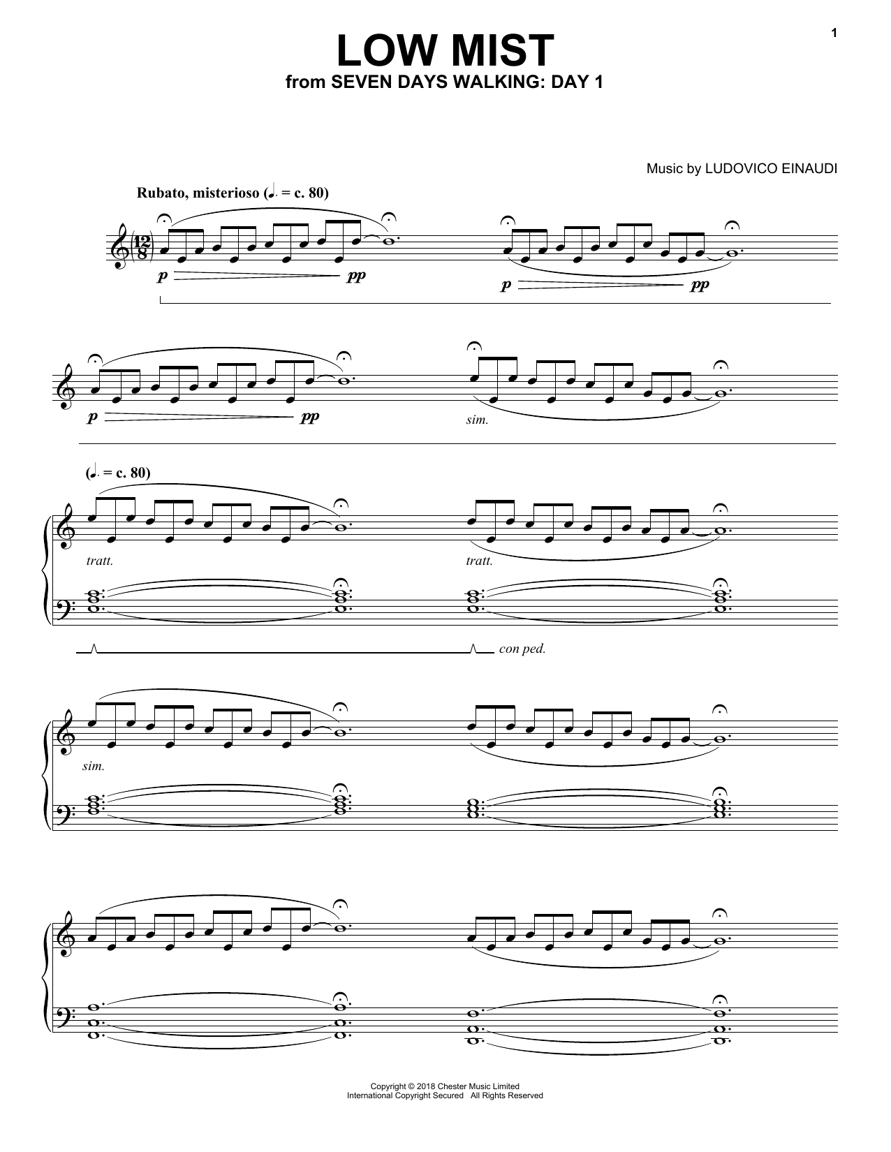 Low Mist (from Seven Days Walking: Day 1) (Piano Solo)
