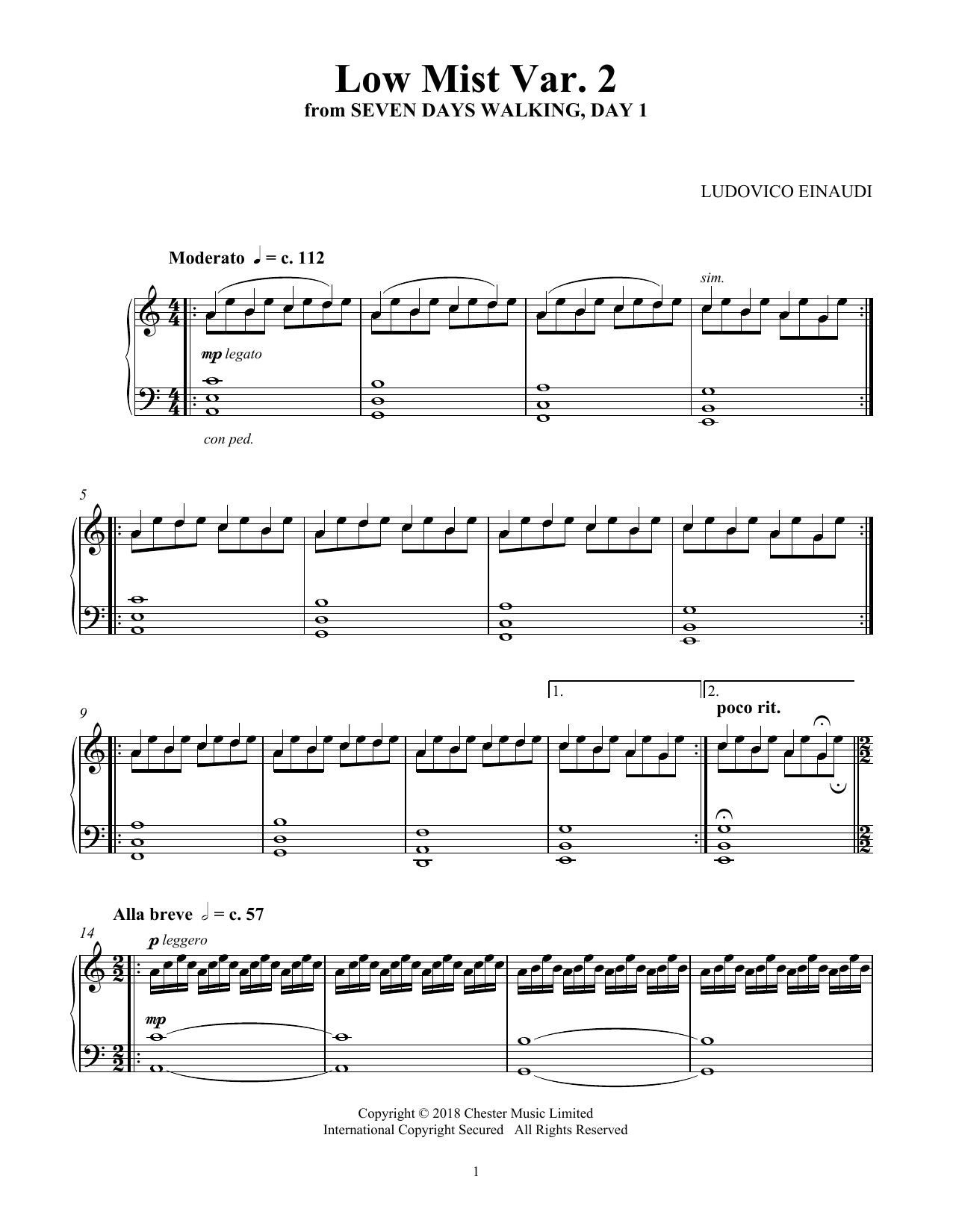 Low Mist Var. 2 (from Seven Days Walking: Day 1) (Piano Solo)
