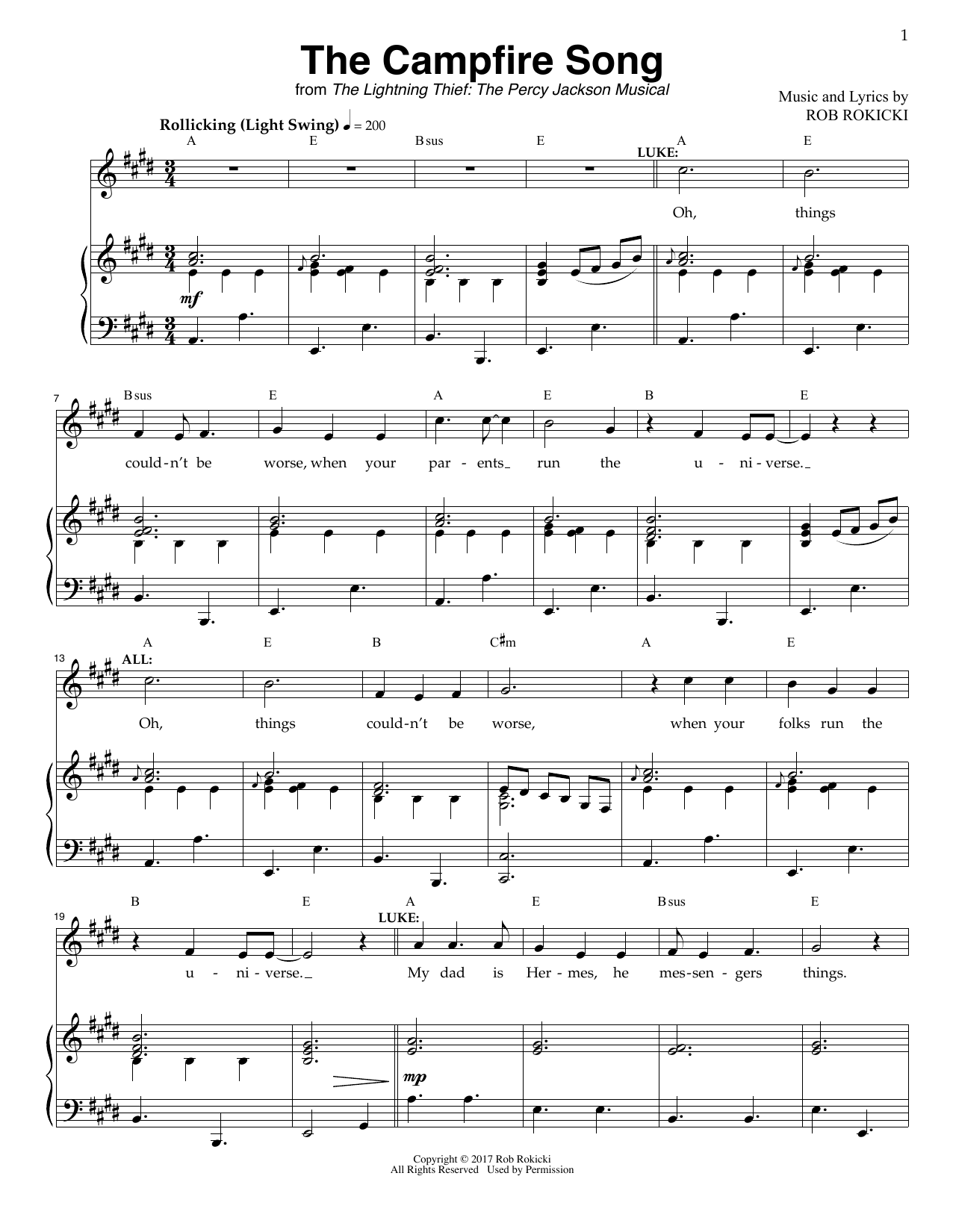 The Campfire Song (from The Lightning Thief: The Percy Jackson Musical) by  Rob Rokicki Piano & Vocal Digital Sheet Music