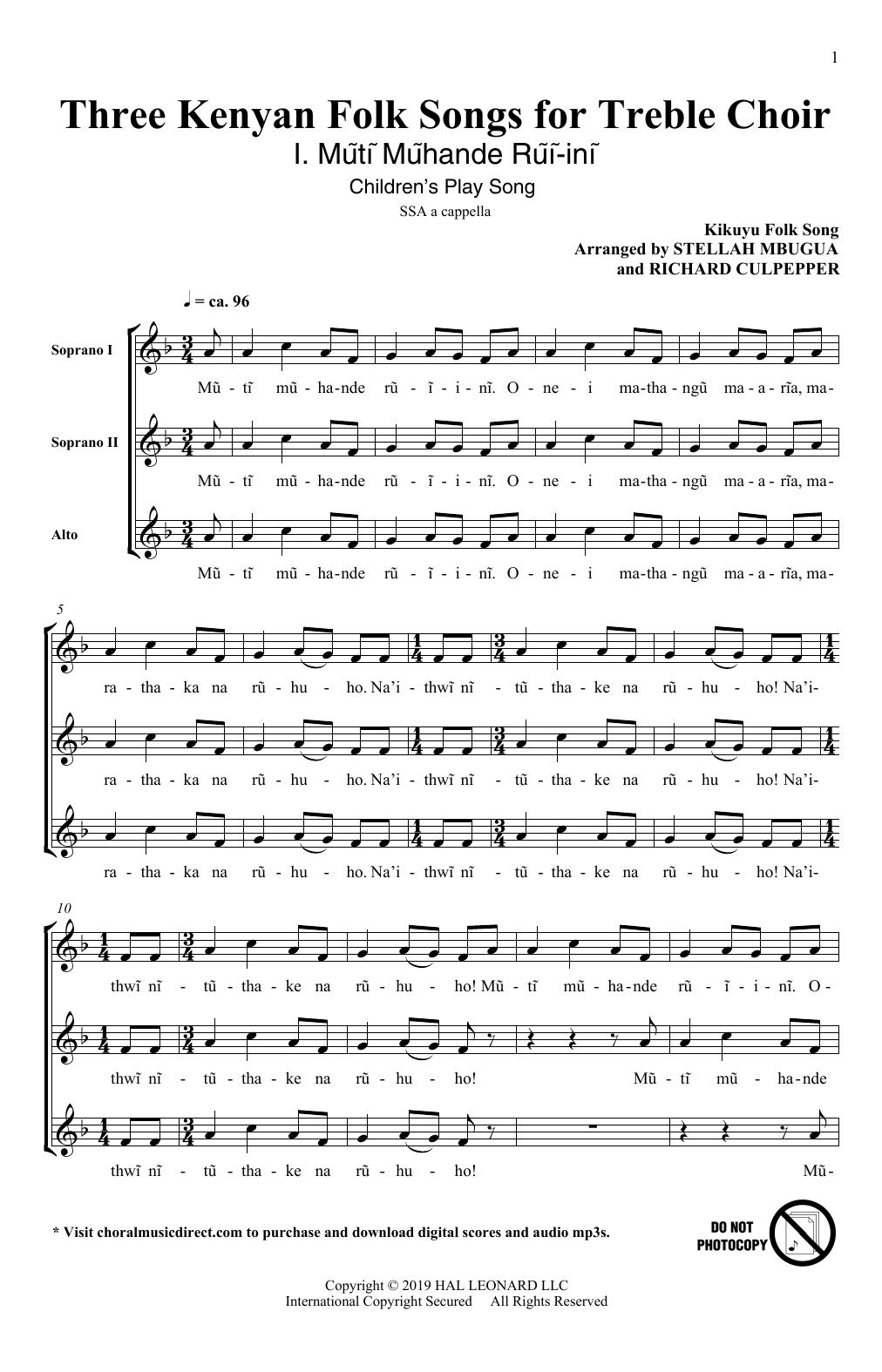 Three Kenyan Folksongs for Treble Choir (SSA Choir)