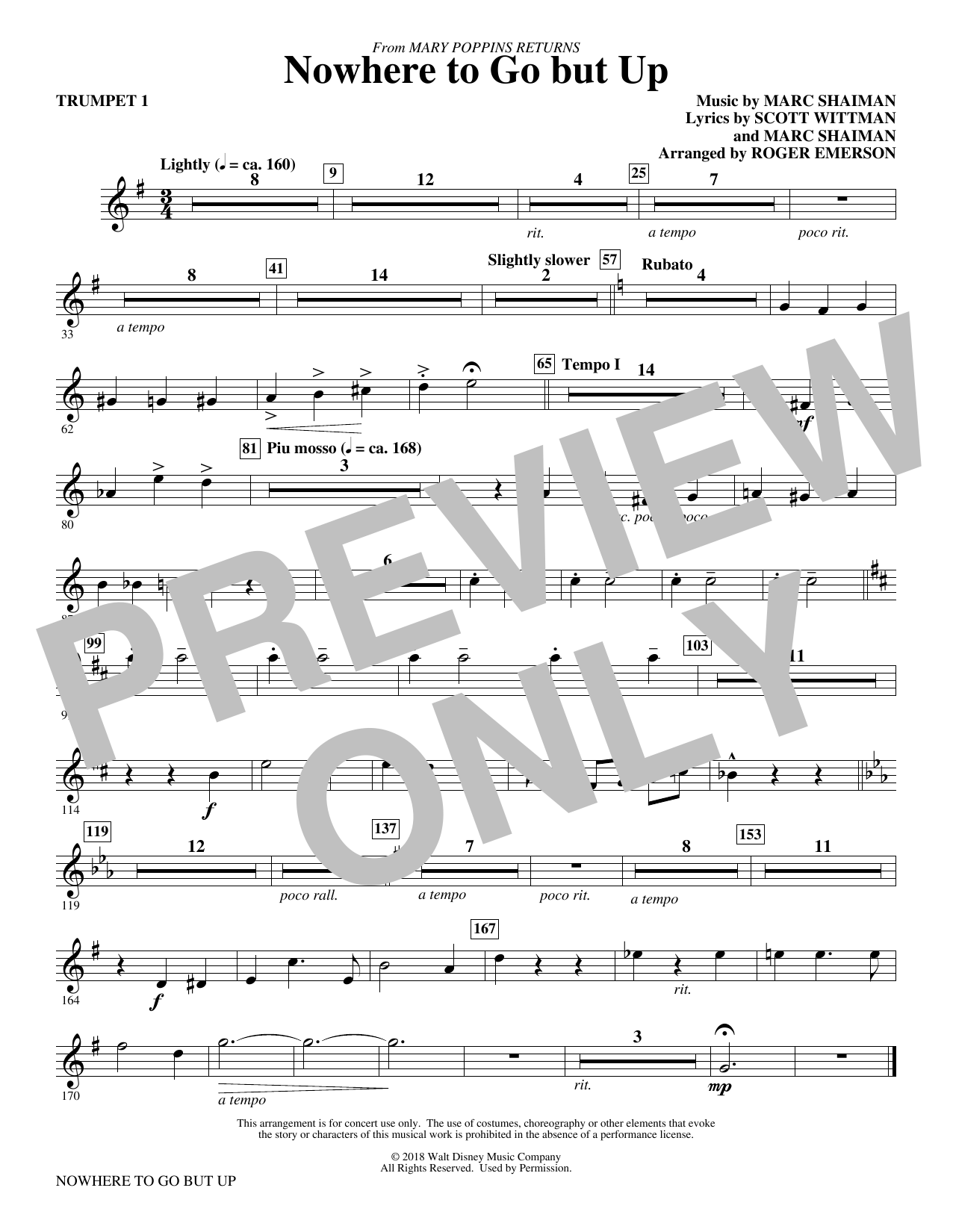 Nowhere to Go But Up (from Mary Poppins Returns) (arr. Roger Emerson) - Trumpet 1 (Choir Instrumental Pak)