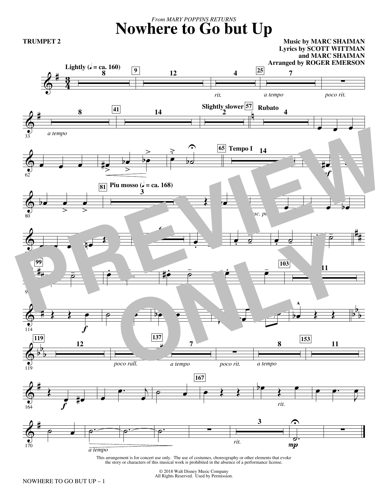 Nowhere to Go But Up (from Mary Poppins Returns) (arr. Roger Emerson) - Trumpet 2 (Choir Instrumental Pak)