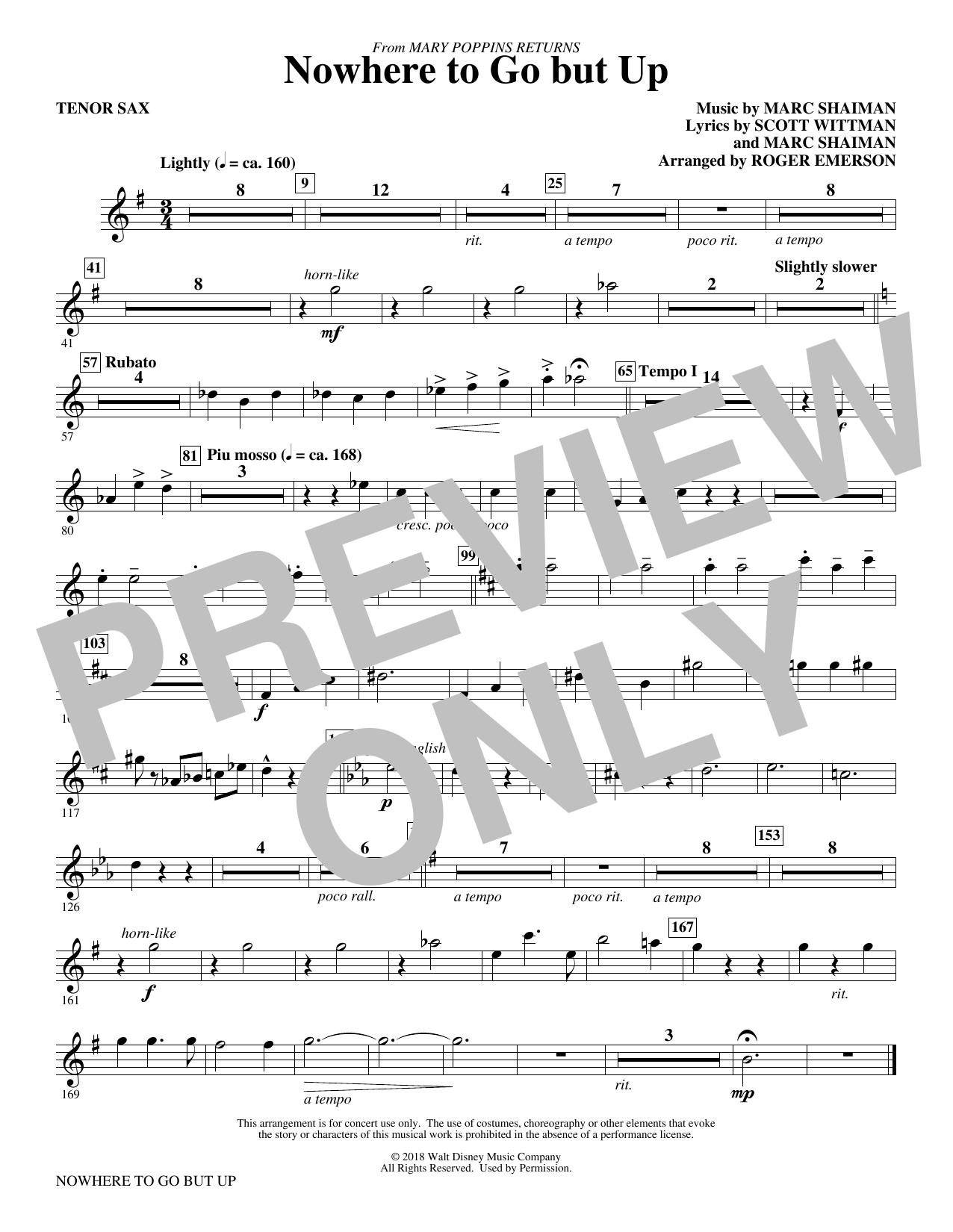 Nowhere to Go But Up (from Mary Poppins Returns) (arr. Roger Emerson) - Tenor Saxophone (Choir Instrumental Pak)