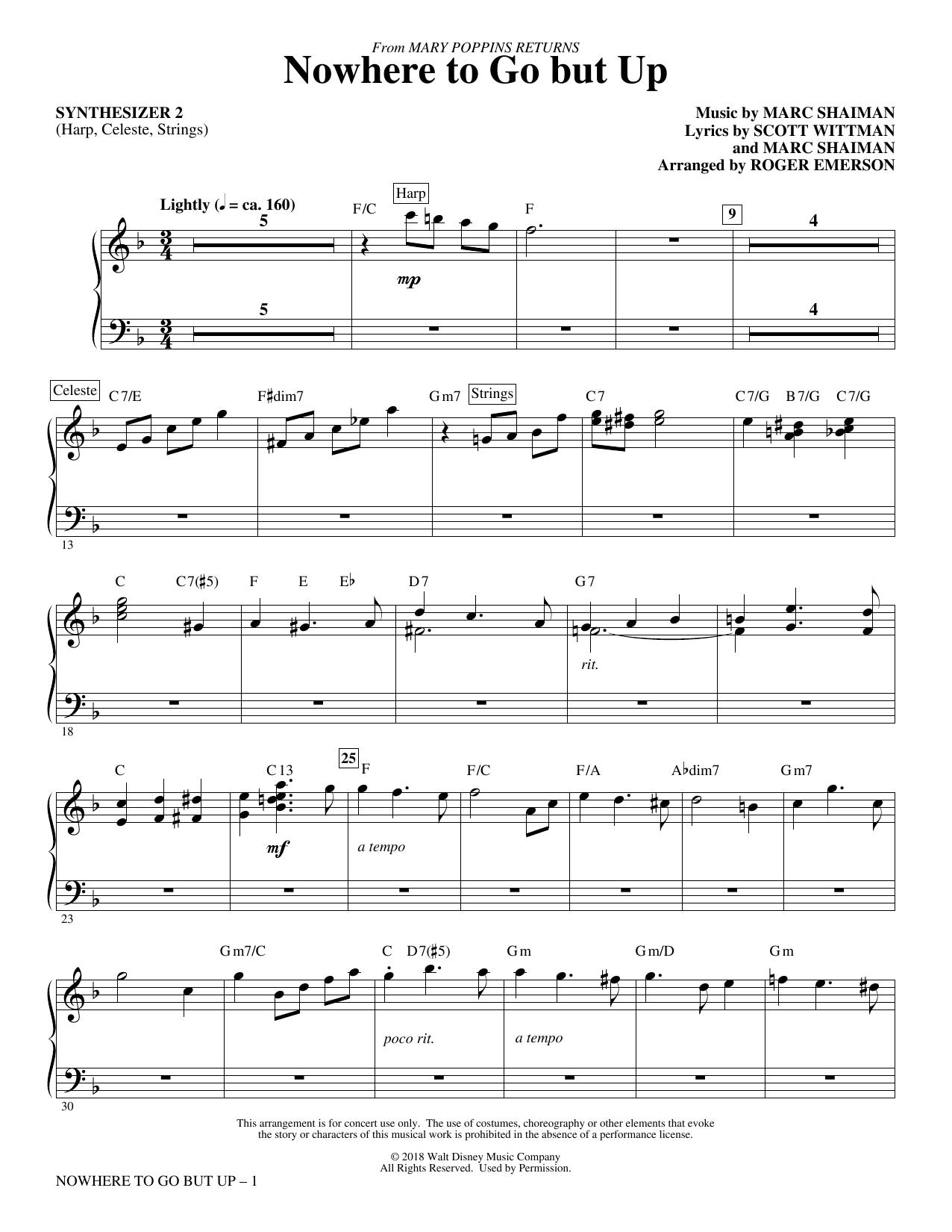 Nowhere to Go But Up (from Mary Poppins Returns) (arr. Roger Emerson) - Synthesizer II (Choir Instrumental Pak)