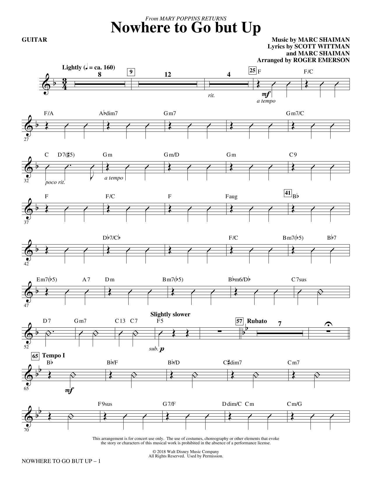 Nowhere to Go But Up (from Mary Poppins Returns) (arr. Roger Emerson) - Guitar (Choir Instrumental Pak)