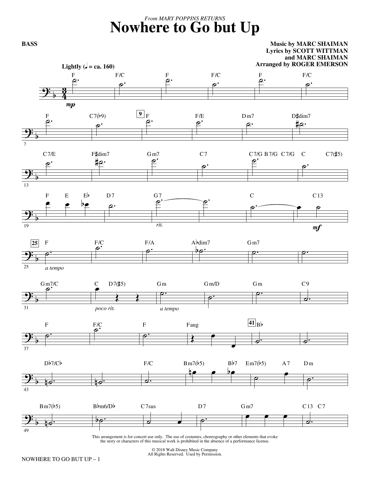 Nowhere to Go But Up (from Mary Poppins Returns) (arr. Roger Emerson) - Bass (Choir Instrumental Pak)