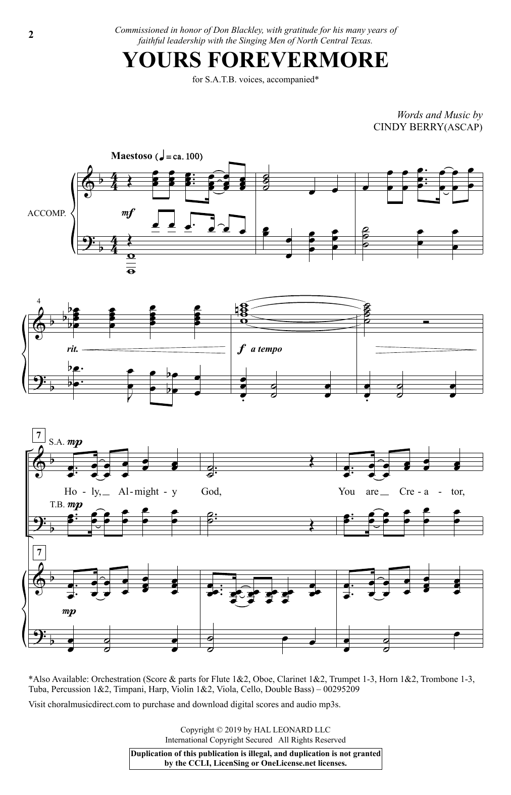 Yours Forevermore (SATB Choir)