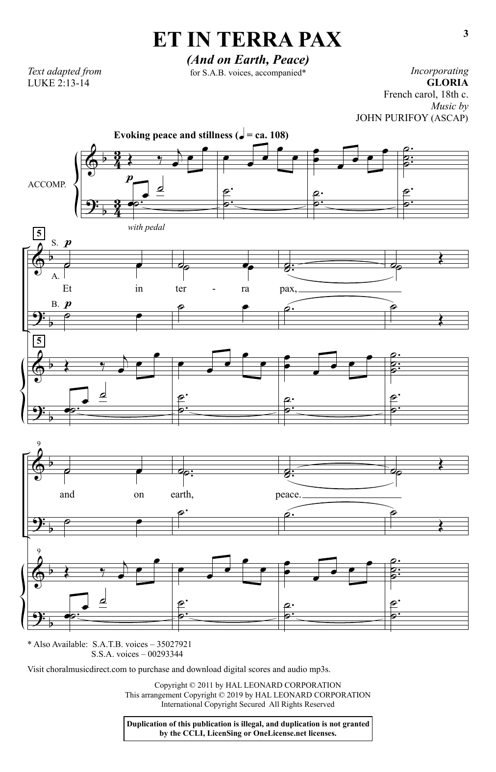 Et In Terra Pax (And On Earth, Peace) (SAB Choir)