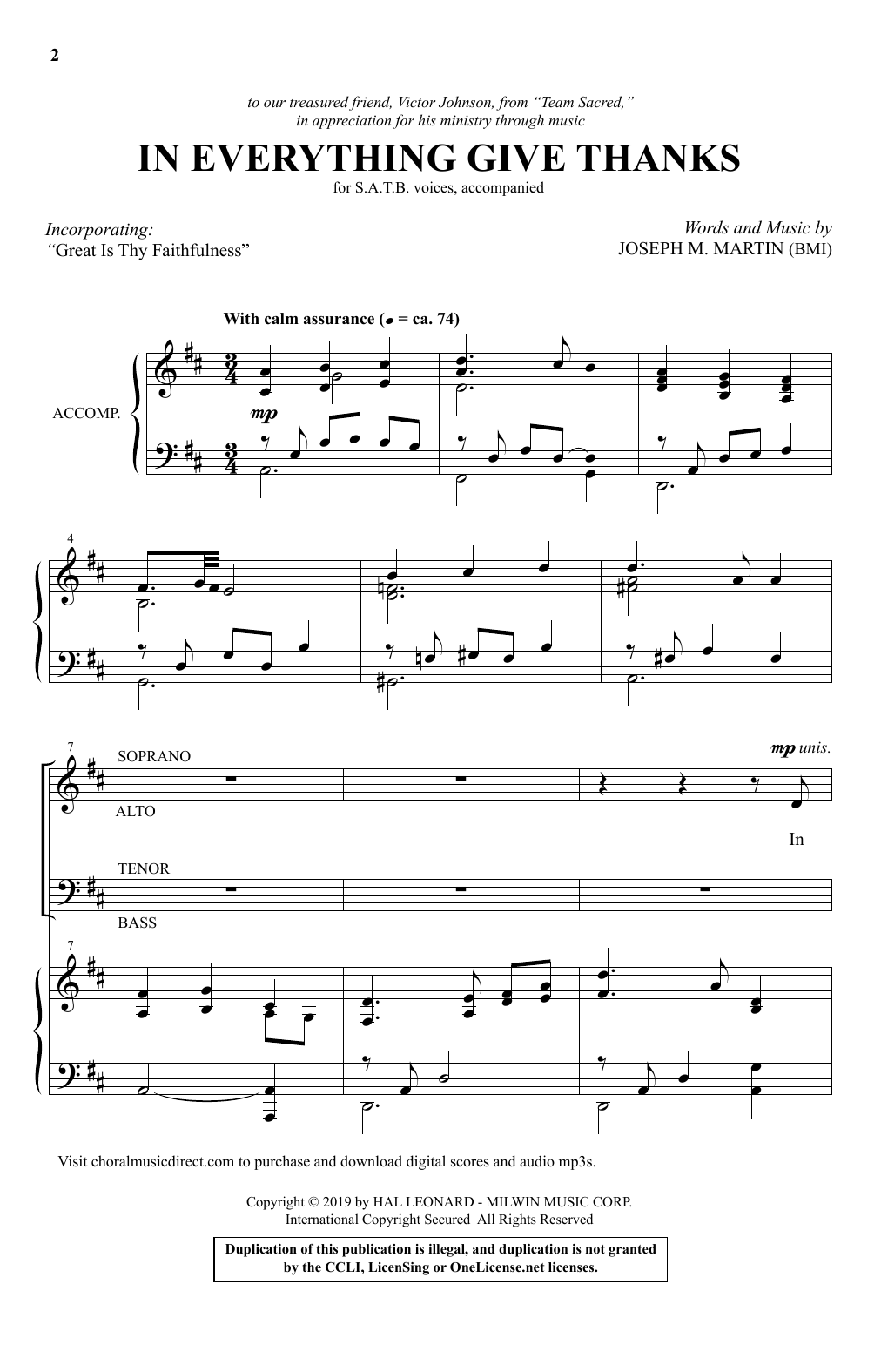 In Everything Give Thanks (SATB Choir)