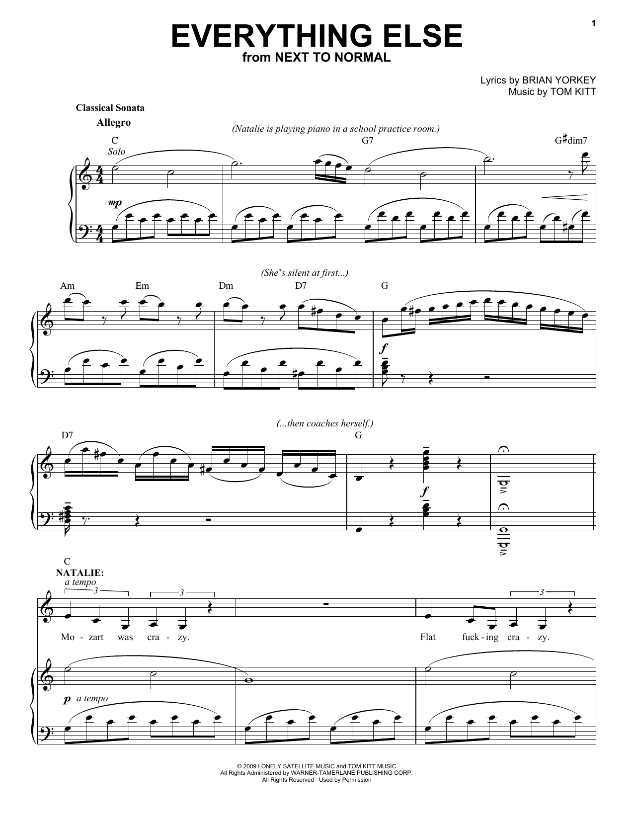 Everything Else (from Next to Normal) (Piano & Vocal)