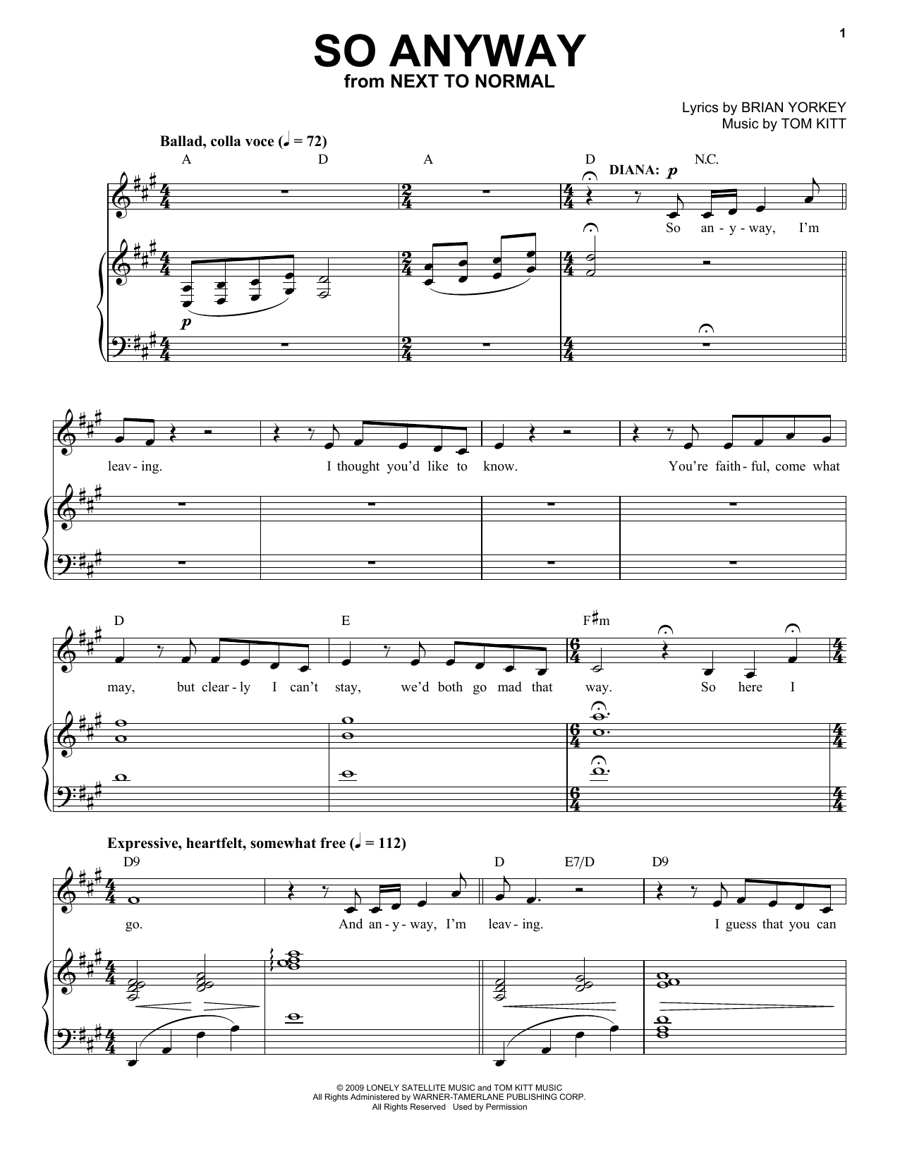 So Anyway (from Next to Normal) (Piano & Vocal)