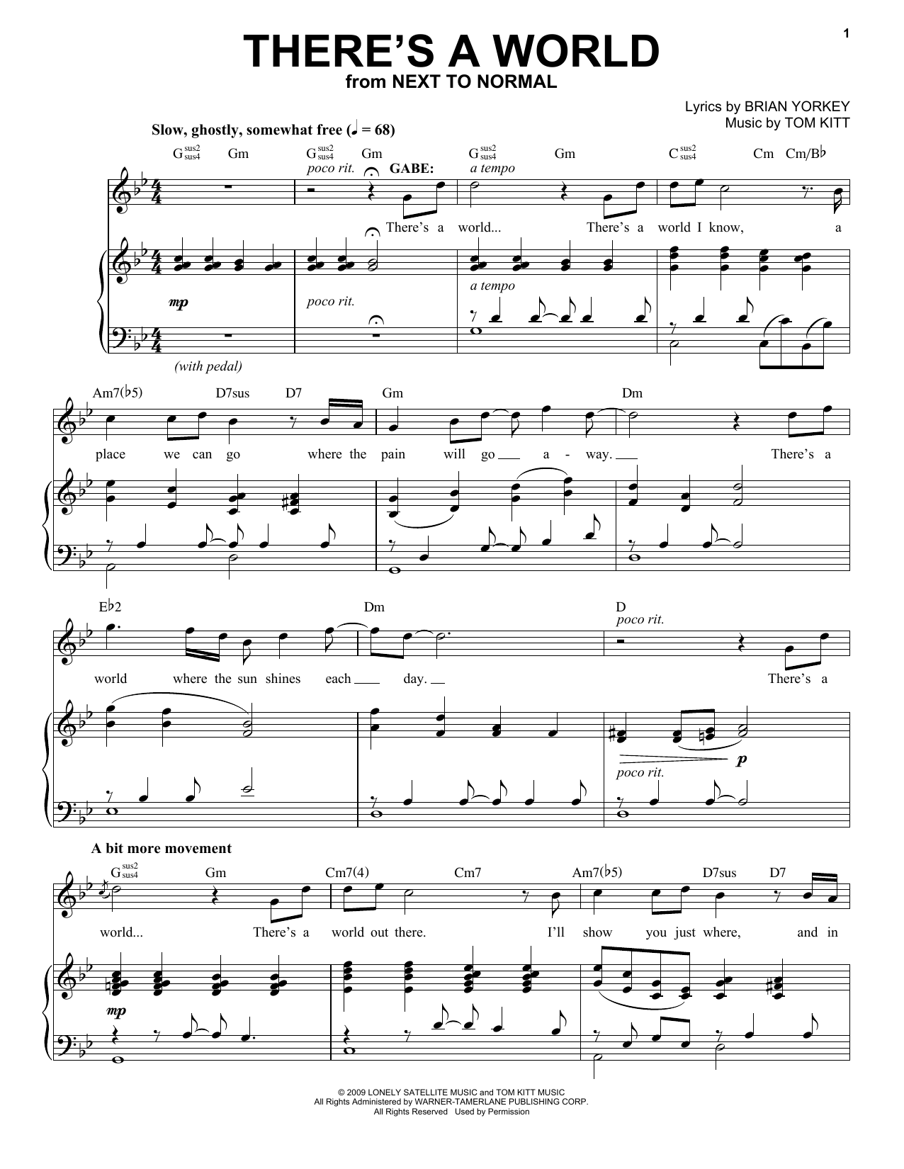 There's A World (from Next to Normal) (Piano & Vocal)