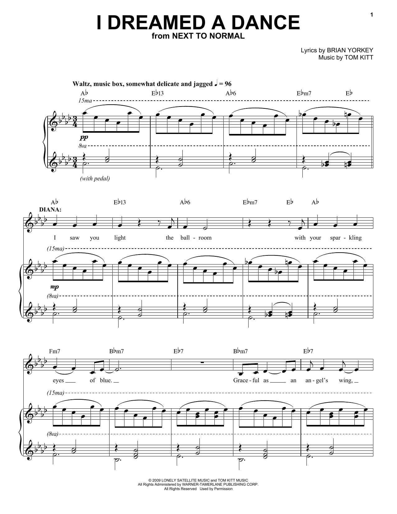 I Dreamed A Dance (from Next to Normal) (Piano & Vocal)