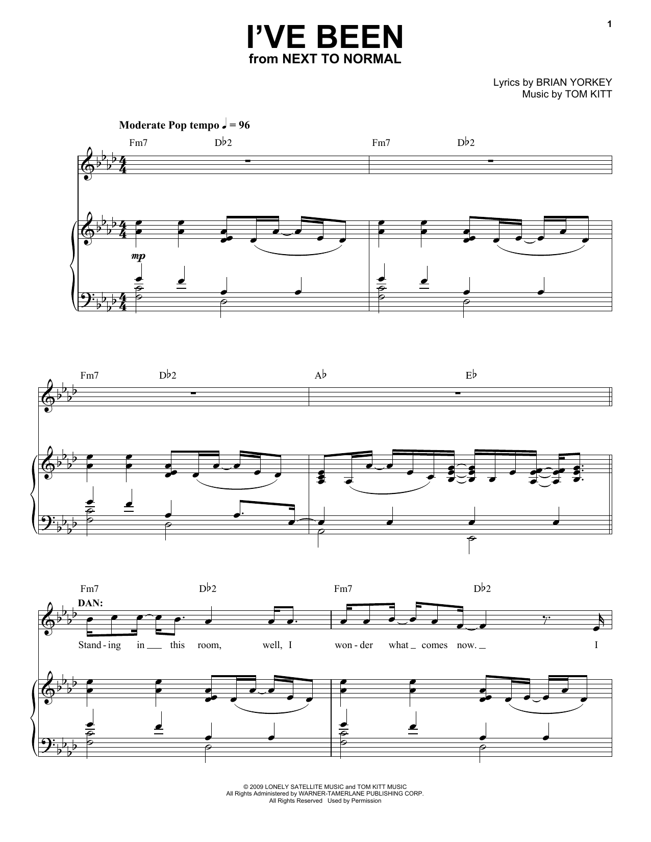 I've Been (from Next to Normal) (Piano & Vocal)