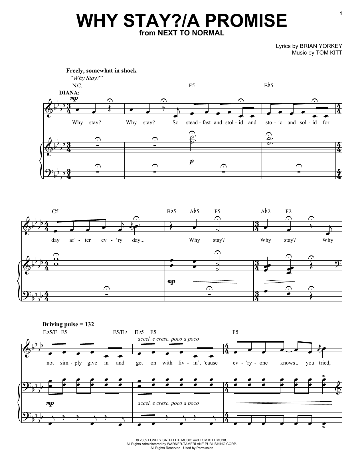 Why Stay?/A Promise (from Next to Normal) (Piano & Vocal)