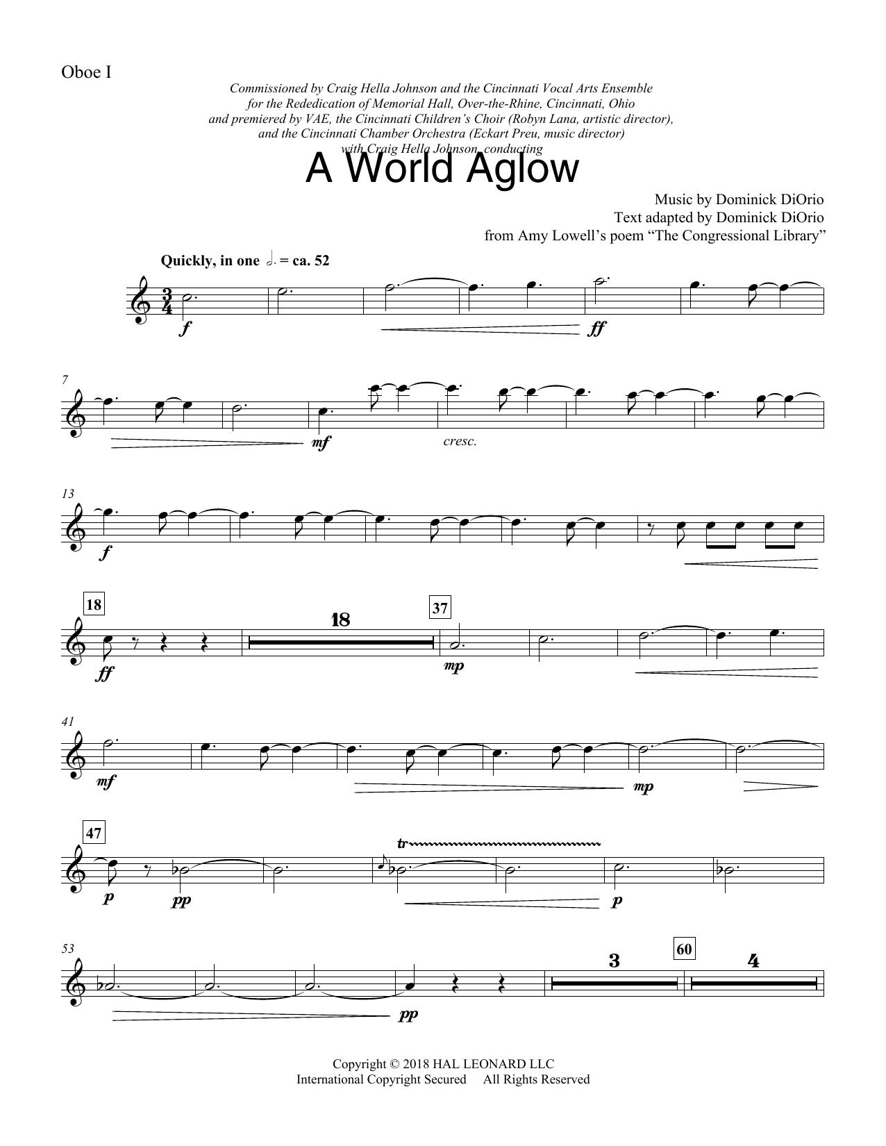 A World Aglow - Oboe 1 (Choir Instrumental Pak)