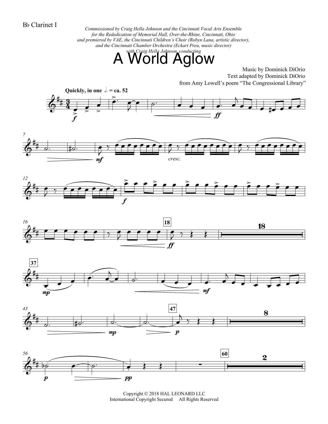 A World Aglow - Bb Clarinet 1 (Choir Instrumental Pak)