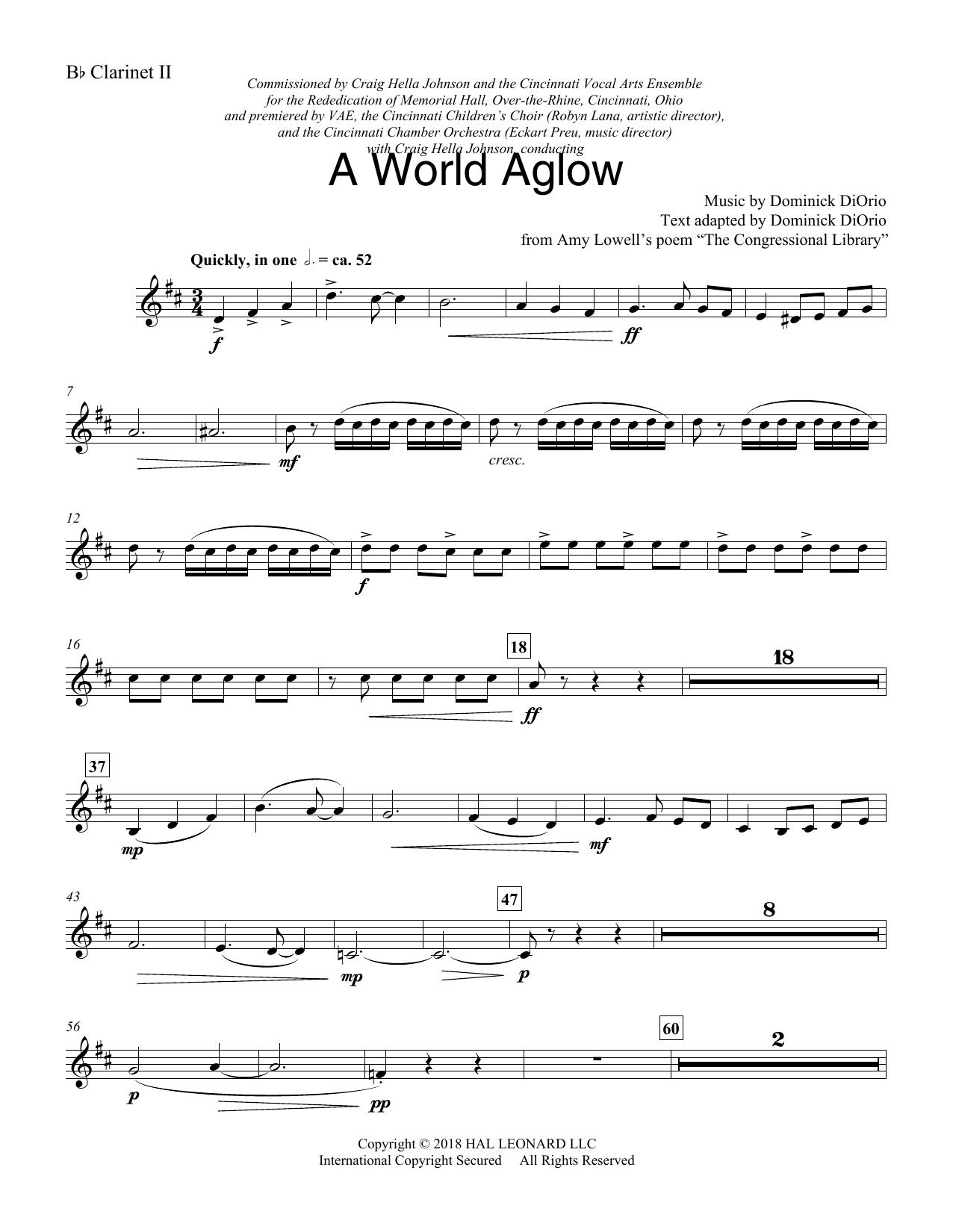 A World Aglow - Bb Clarinet 2 (Choir Instrumental Pak)