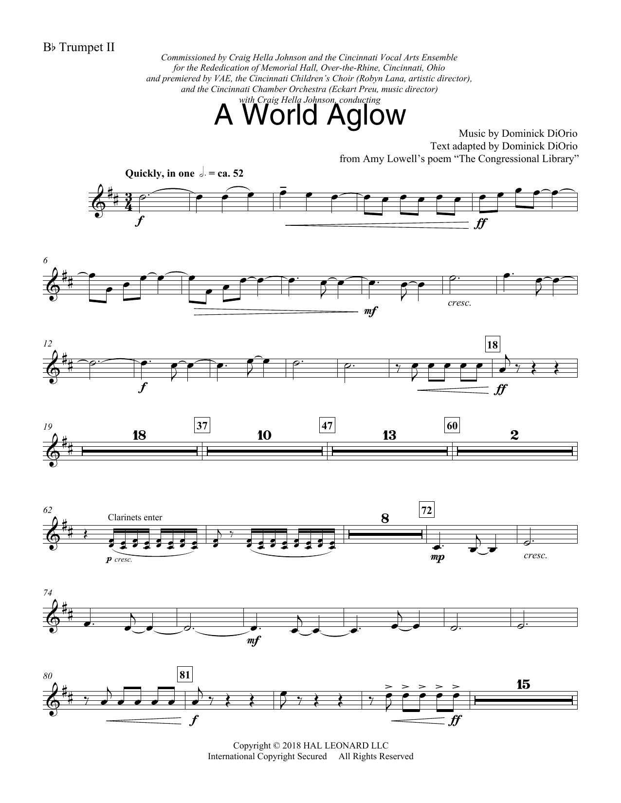 A World Aglow - Trumpet 2 in Bb (Choir Instrumental Pak)