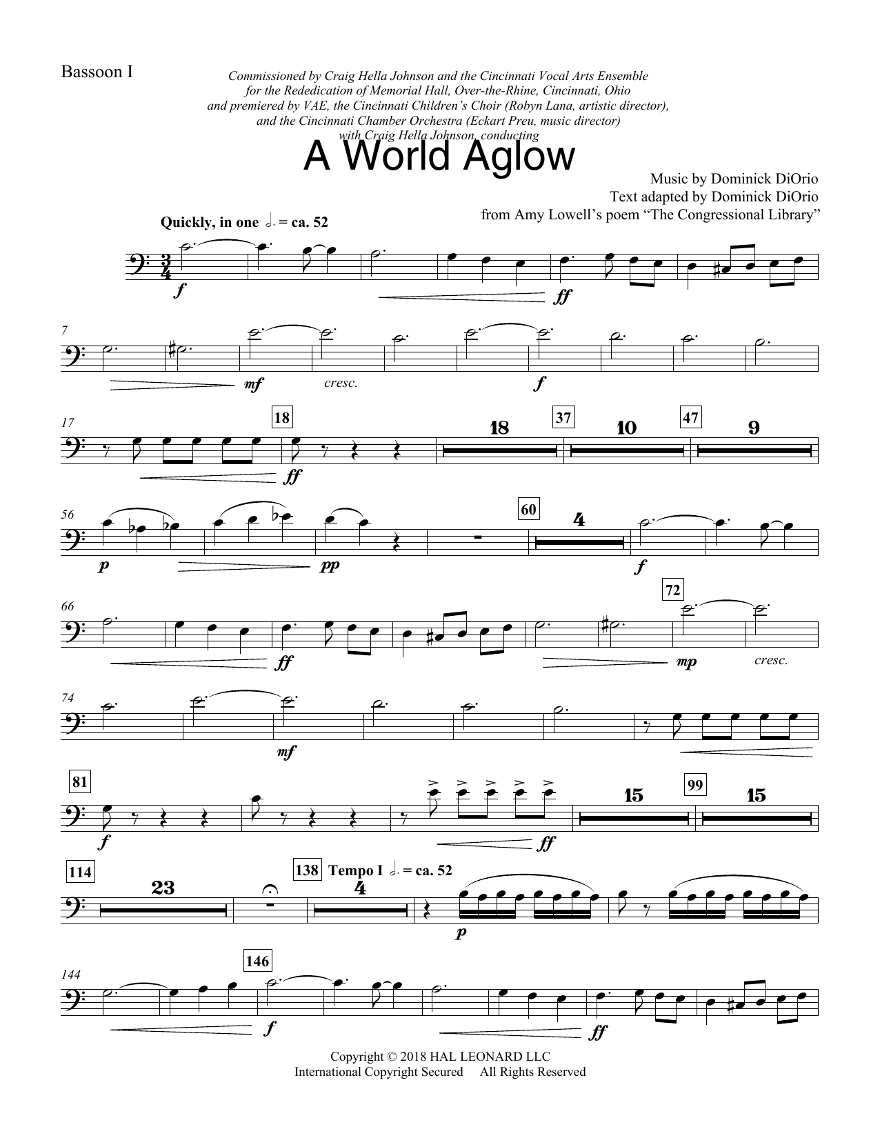 A World Aglow - Bassoon 1 (Choir Instrumental Pak)