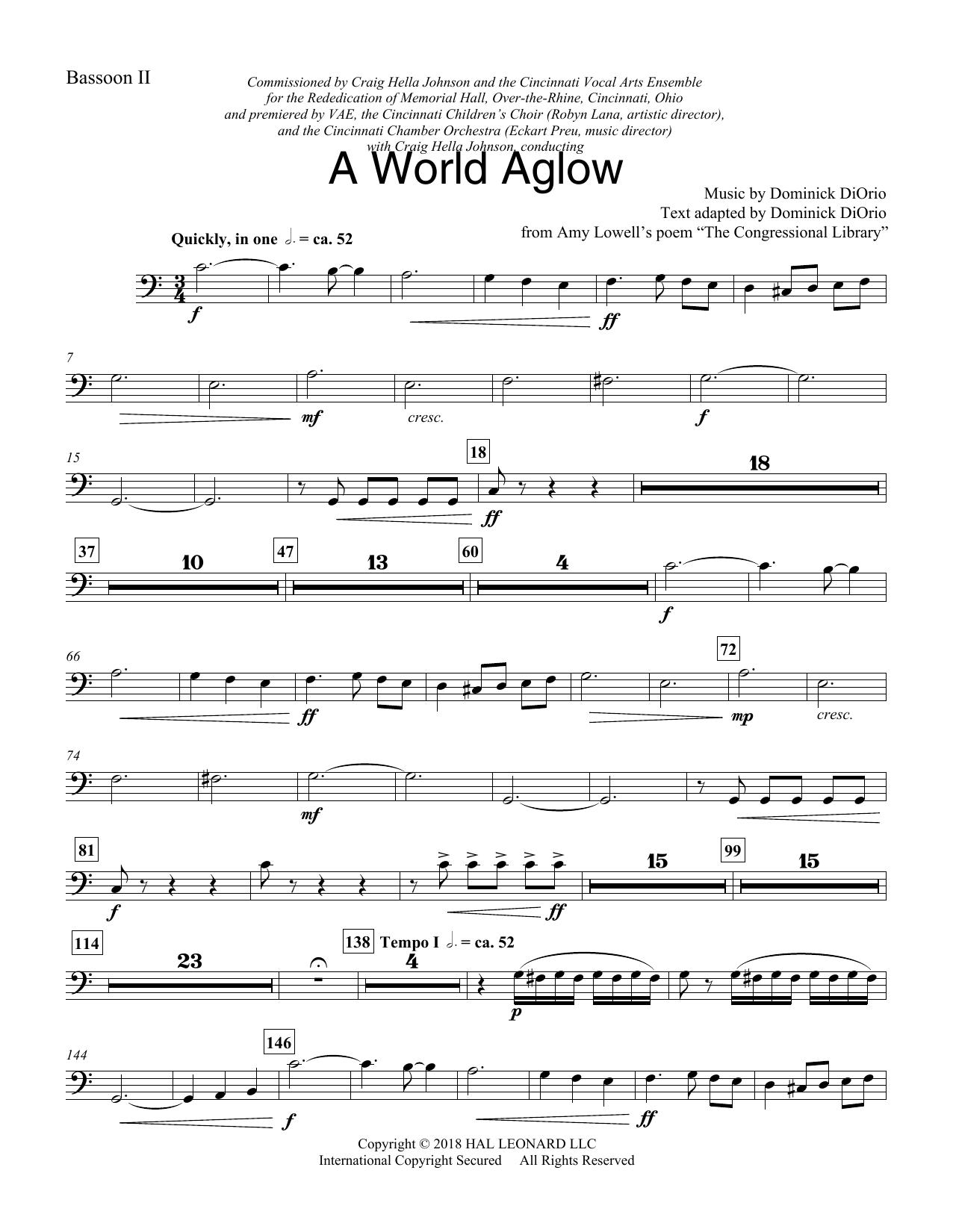 A World Aglow - Bassoon 2 (Choir Instrumental Pak)