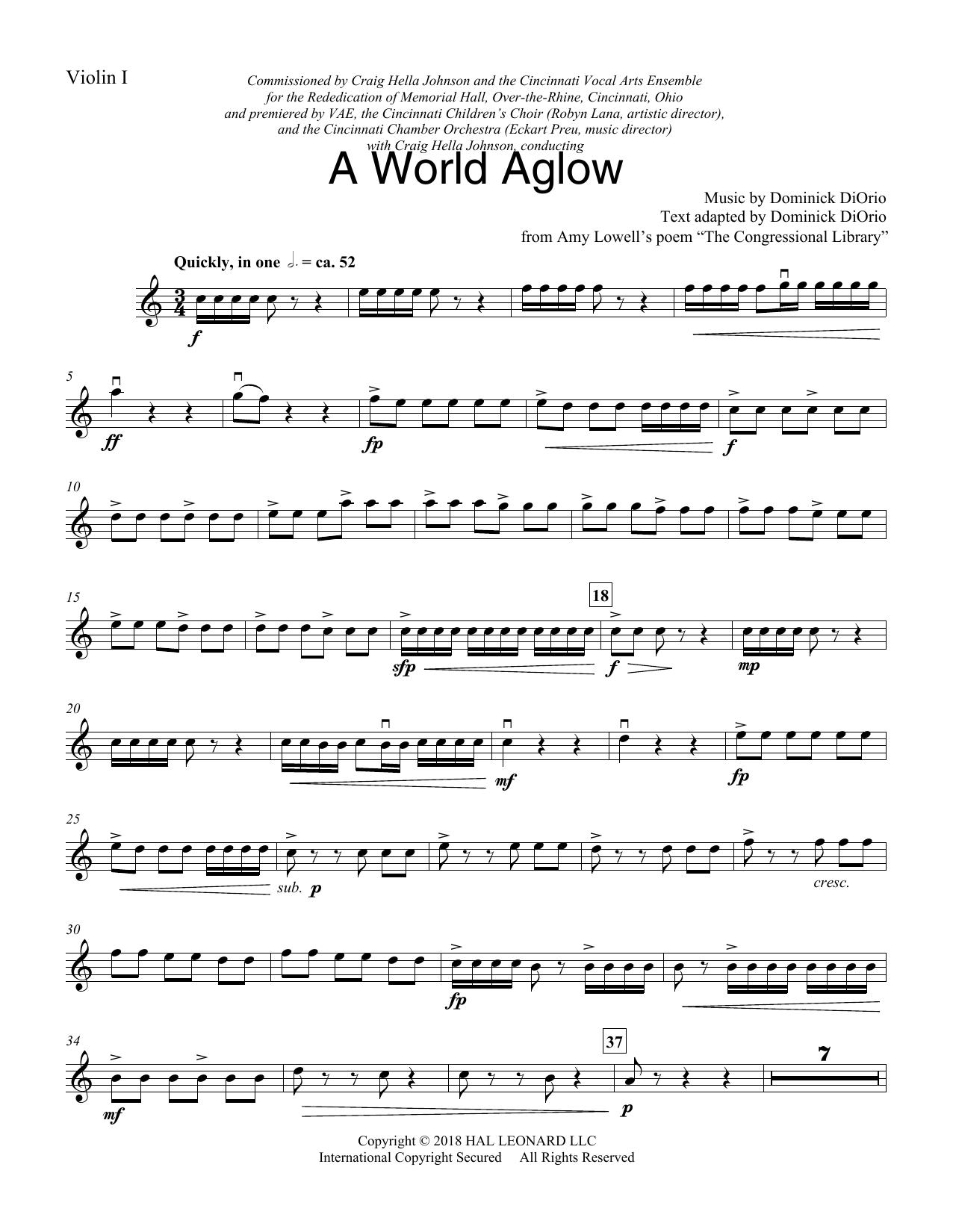 A World Aglow - Violin 1 (Choir Instrumental Pak)