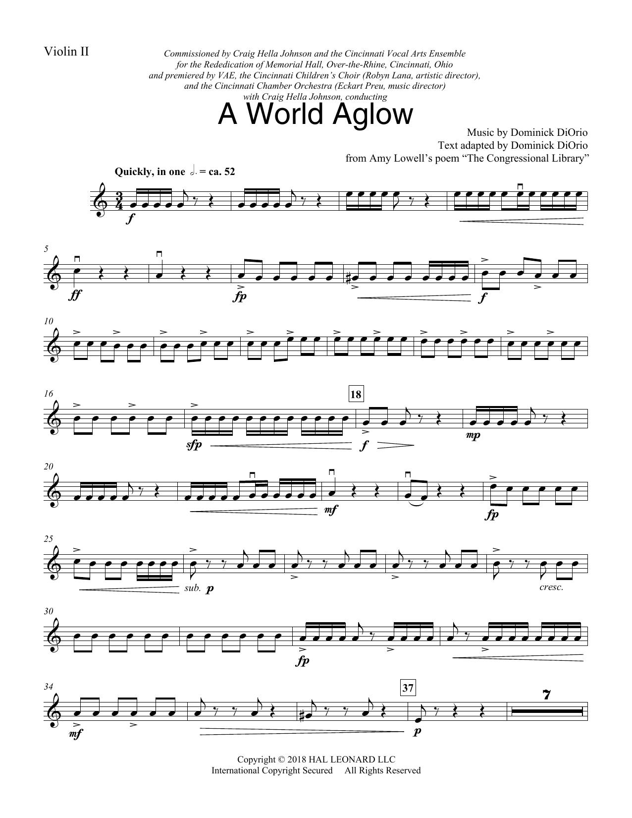 A World Aglow - Violin 2 (Choir Instrumental Pak)