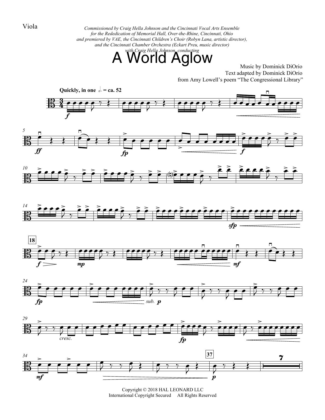 A World Aglow - Viola (Choir Instrumental Pak)