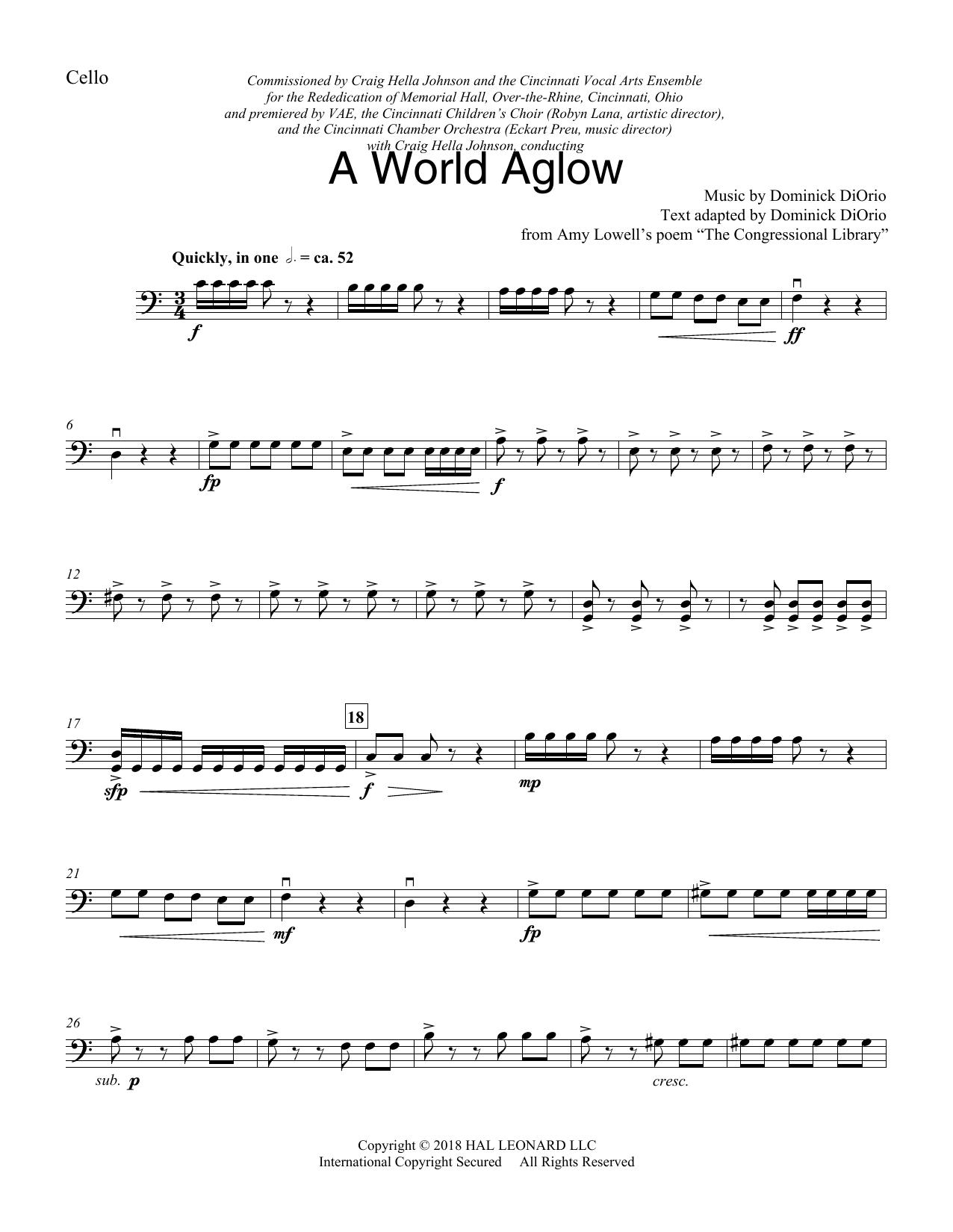 A World Aglow - Cello (Choir Instrumental Pak)