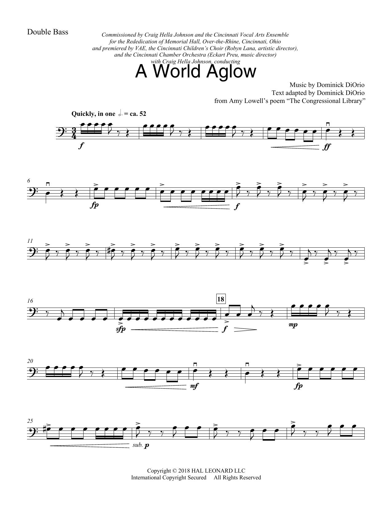 A World Aglow - Double Bass (Choir Instrumental Pak)
