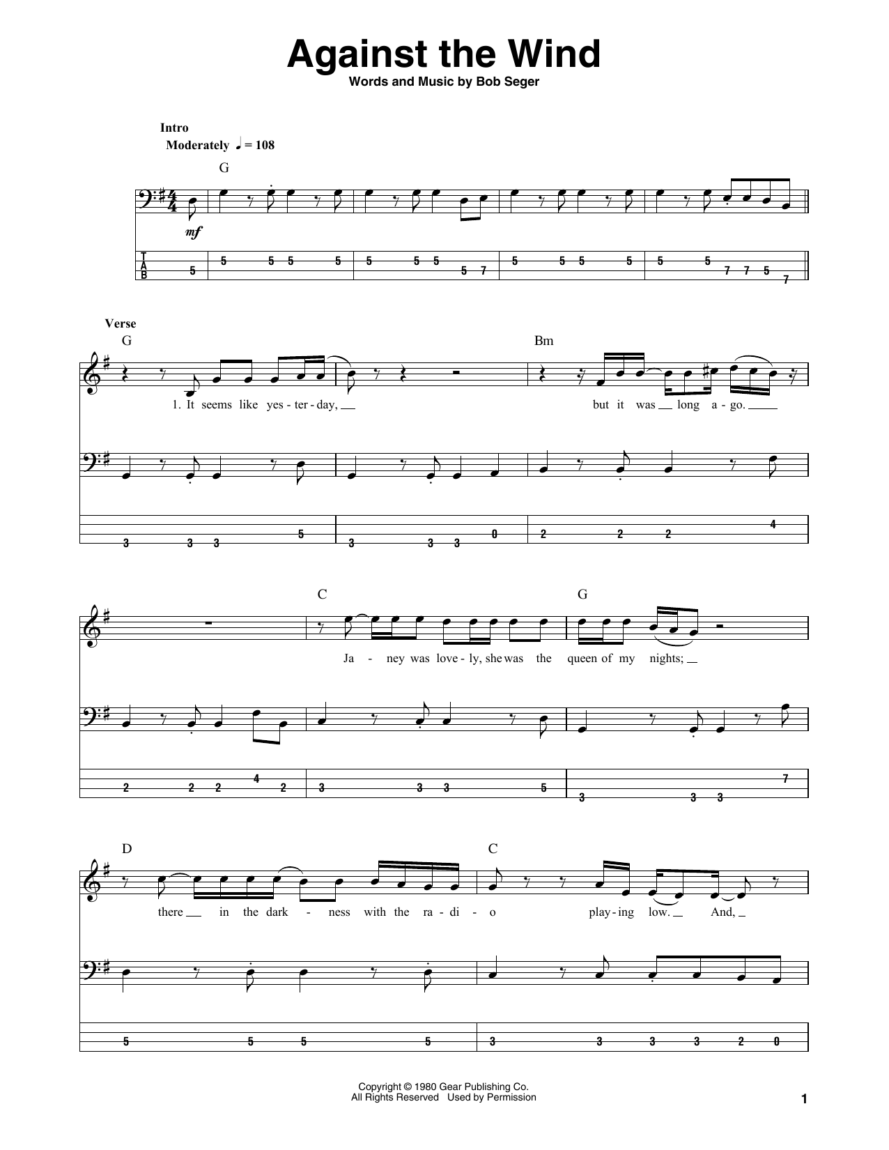 Against The Wind (Bass Guitar Tab)