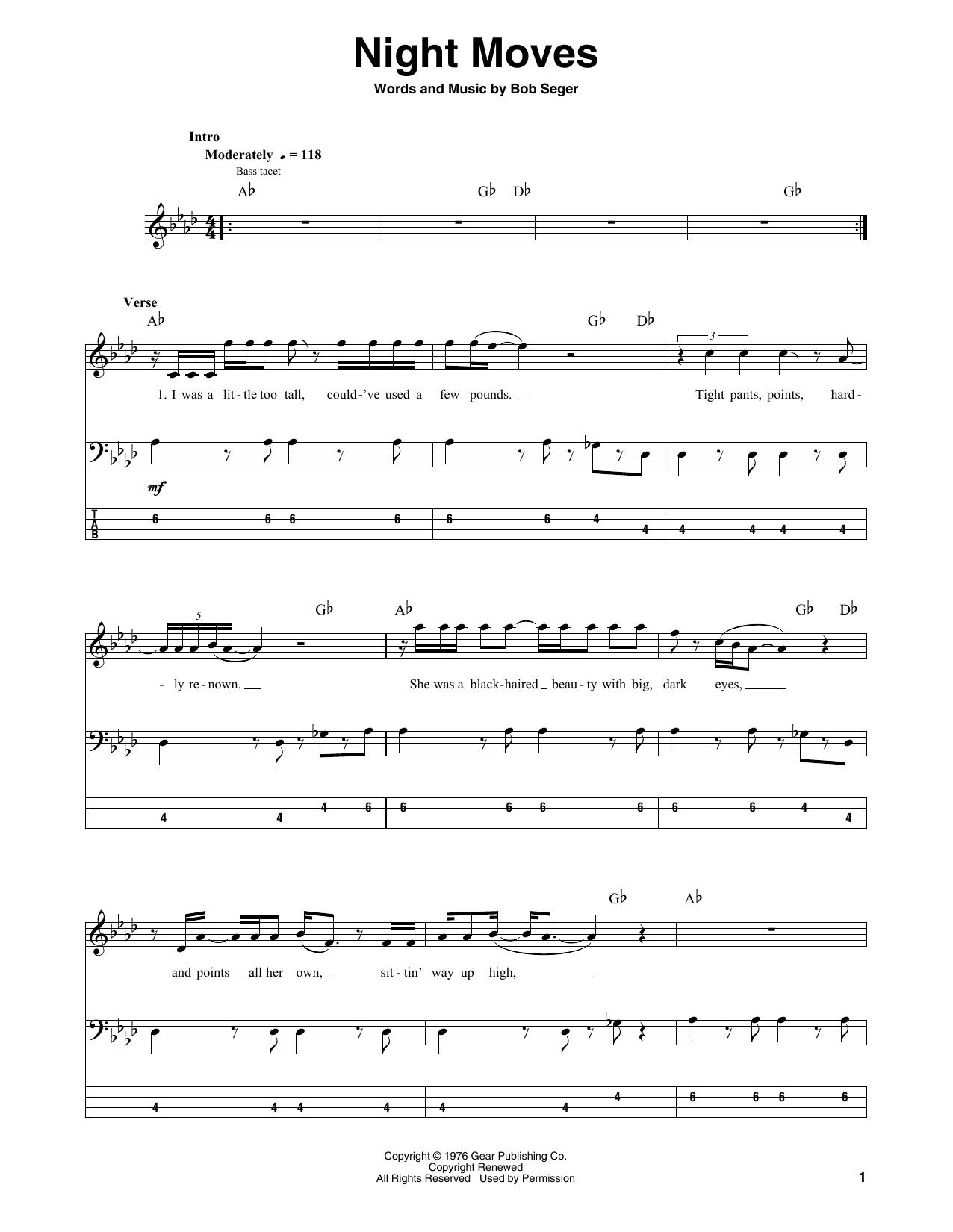 Night Moves (Bass Guitar Tab)