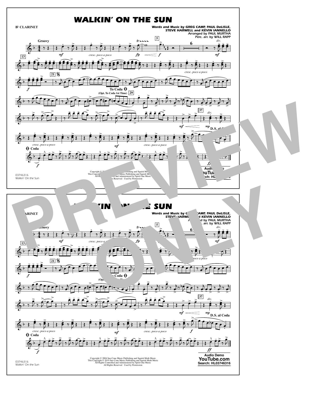 Walkin' on the Sun (arr. Paul Murtha) - Bb Clarinet (Marching Band)