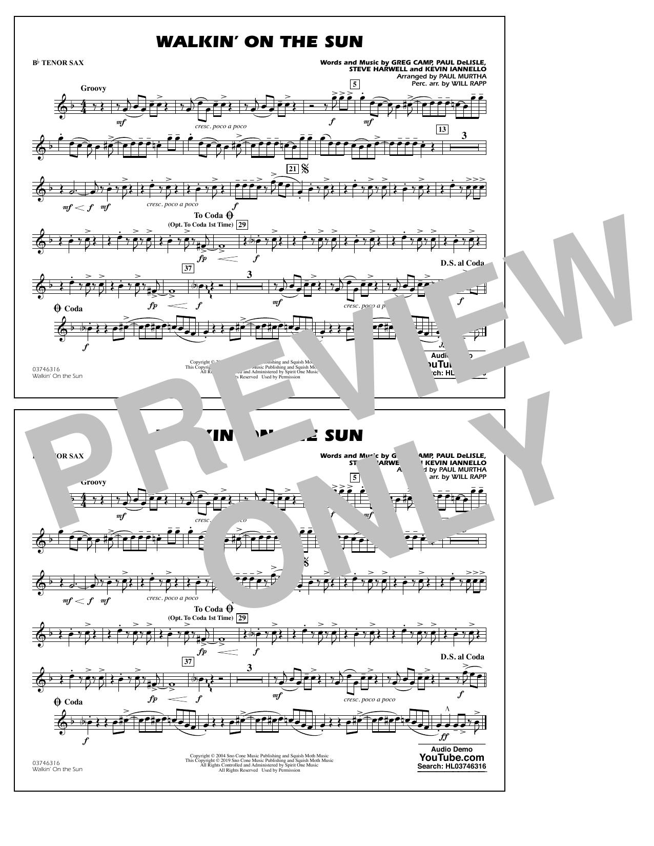 Walkin' on the Sun (arr. Paul Murtha) - Bb Tenor Sax (Marching Band)
