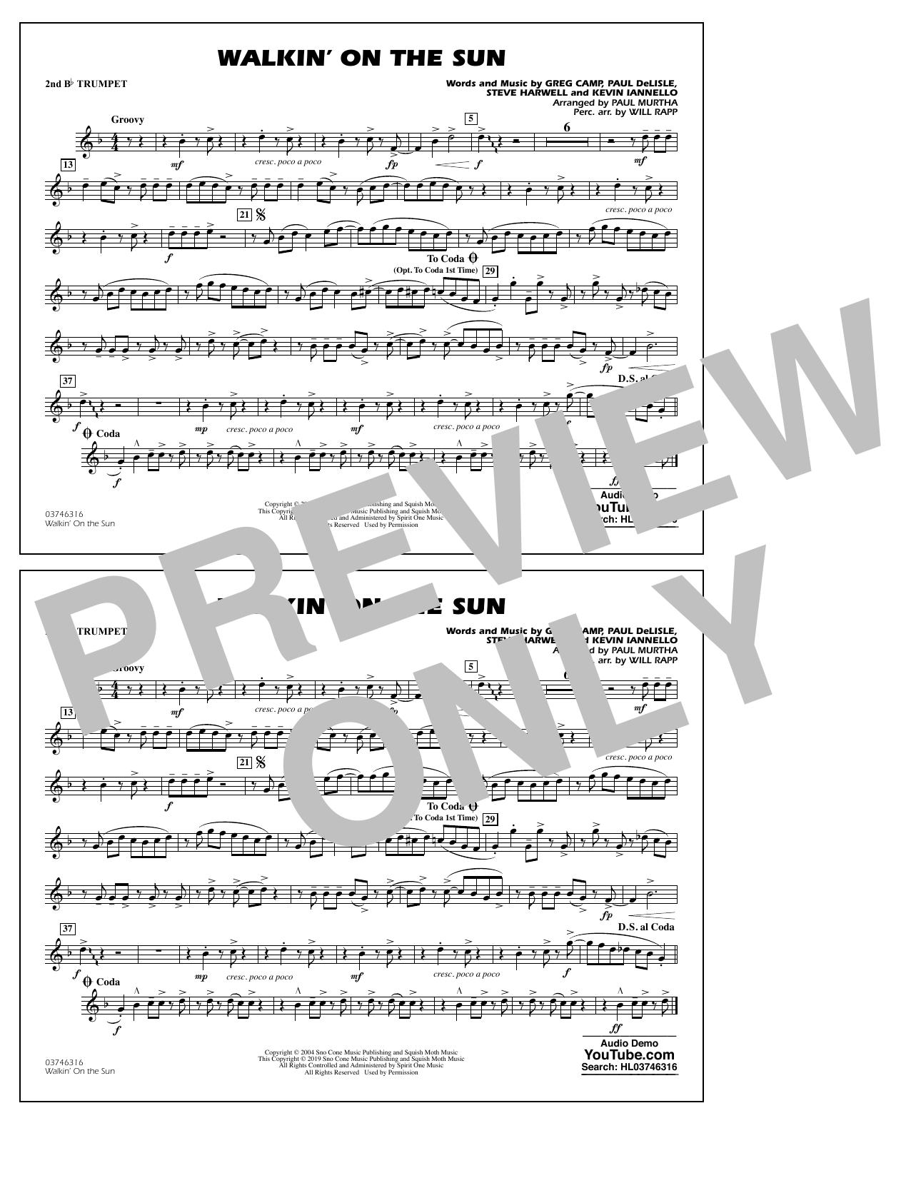 Walkin' on the Sun (arr. Paul Murtha) - 2nd Bb Trumpet (Marching Band)