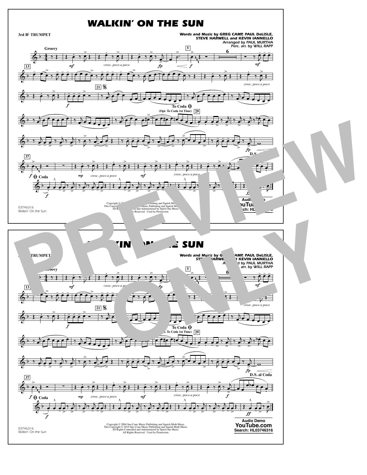 Walkin' on the Sun (arr. Paul Murtha) - 3rd Bb Trumpet (Marching Band)