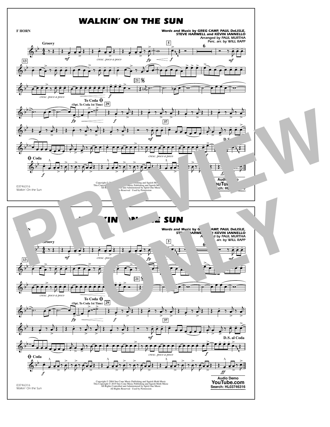 Walkin' on the Sun (arr. Paul Murtha) - F Horn (Marching Band)