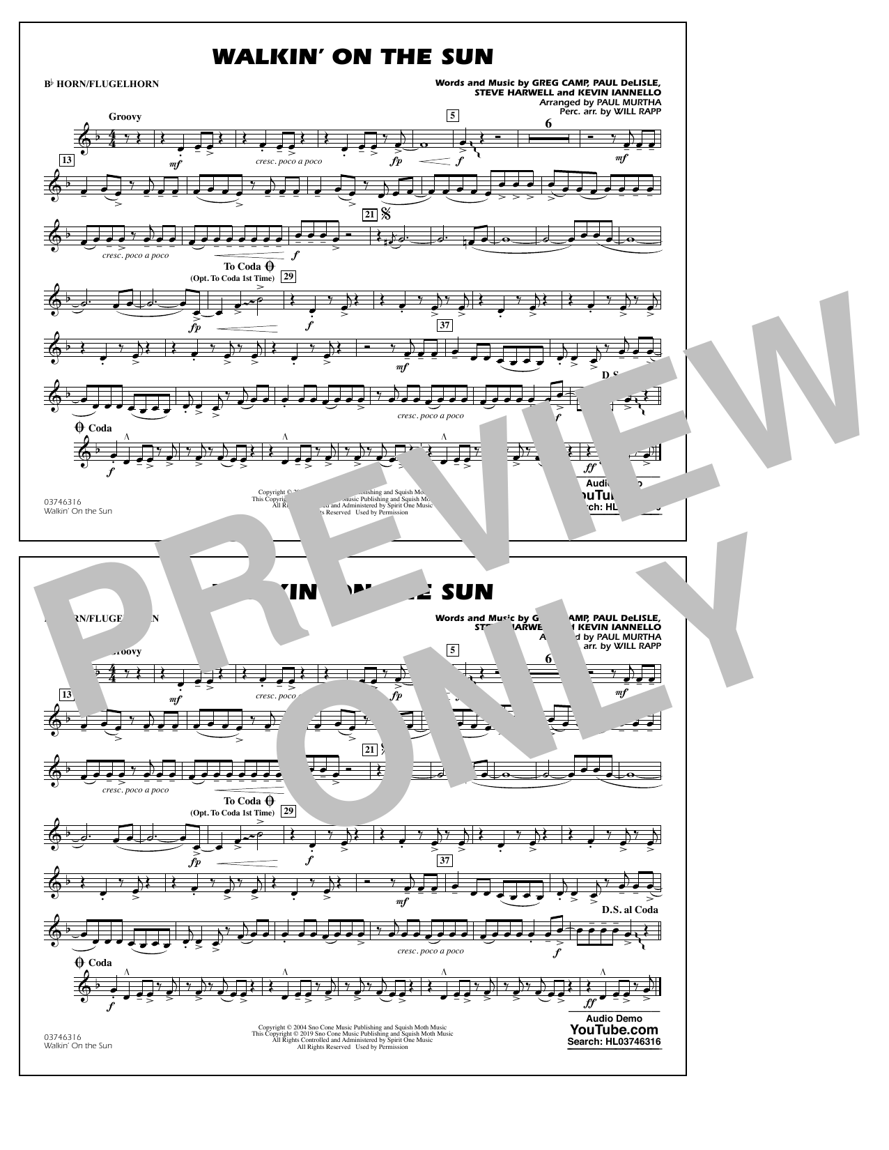 Walkin' on the Sun (arr. Paul Murtha) - Bb Horn/Flugelhorn (Marching Band)