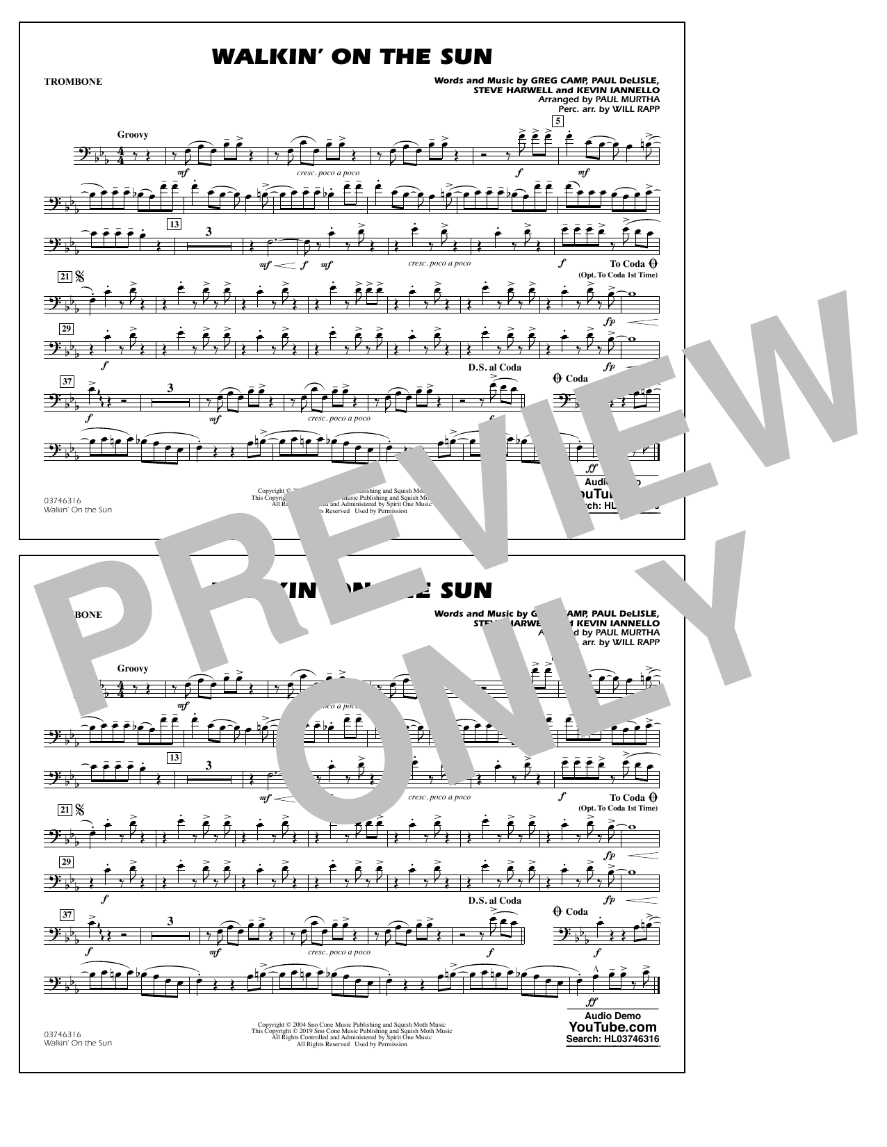 Walkin' on the Sun (arr. Paul Murtha) - Trombone (Marching Band)