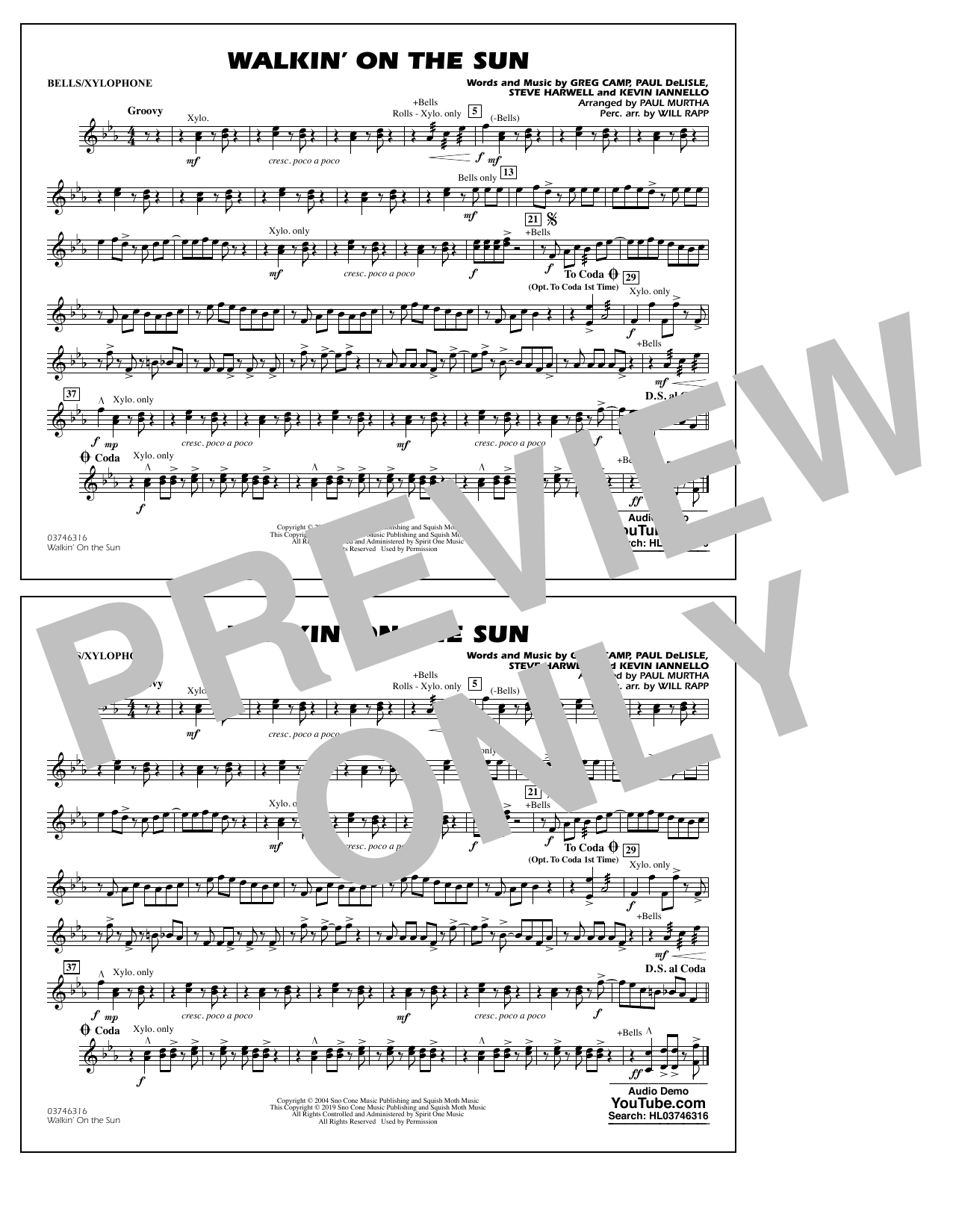 Walkin' on the Sun (arr. Paul Murtha) - Bells/Xylophone (Marching Band)