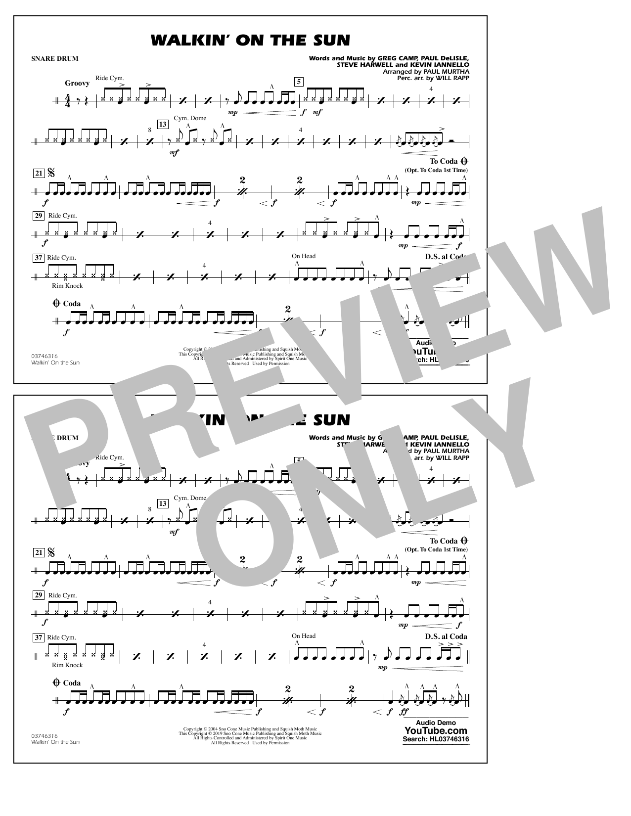 Walkin' on the Sun (arr. Paul Murtha) - Snare Drum (Marching Band)