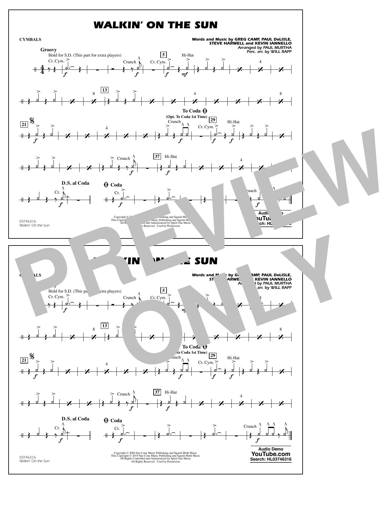 Walkin' on the Sun (arr. Paul Murtha) - Cymbals (Marching Band)