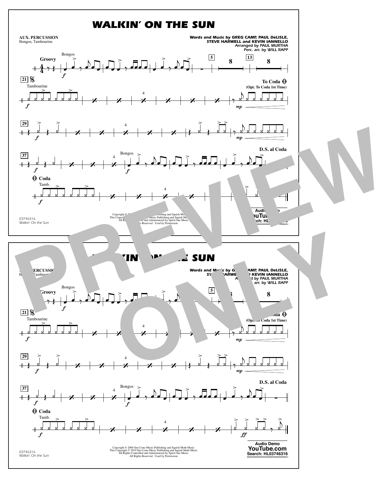 Walkin' on the Sun (arr. Paul Murtha) - Aux Percussion (Marching Band)