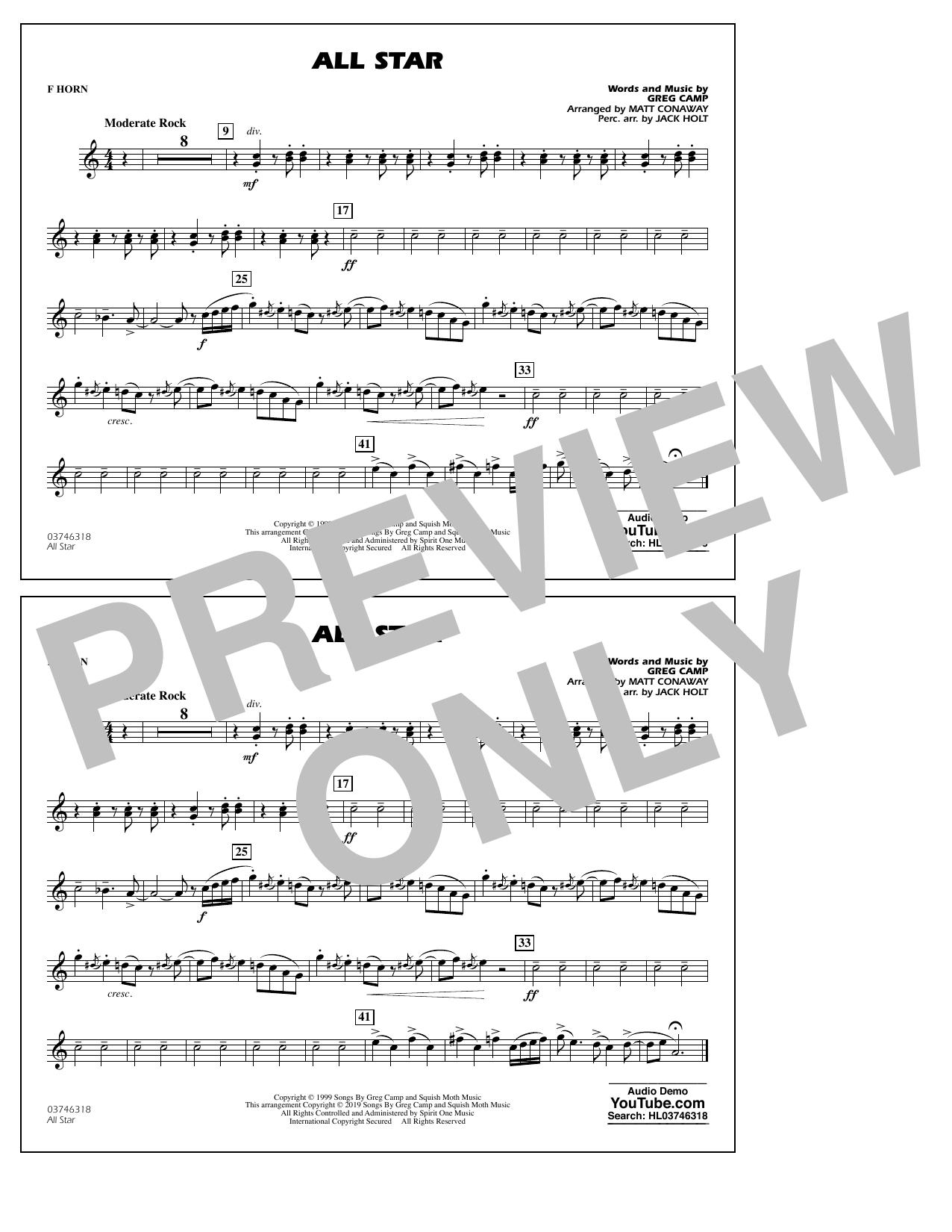 All Star (arr. Matt Conaway) - F Horn (Marching Band)