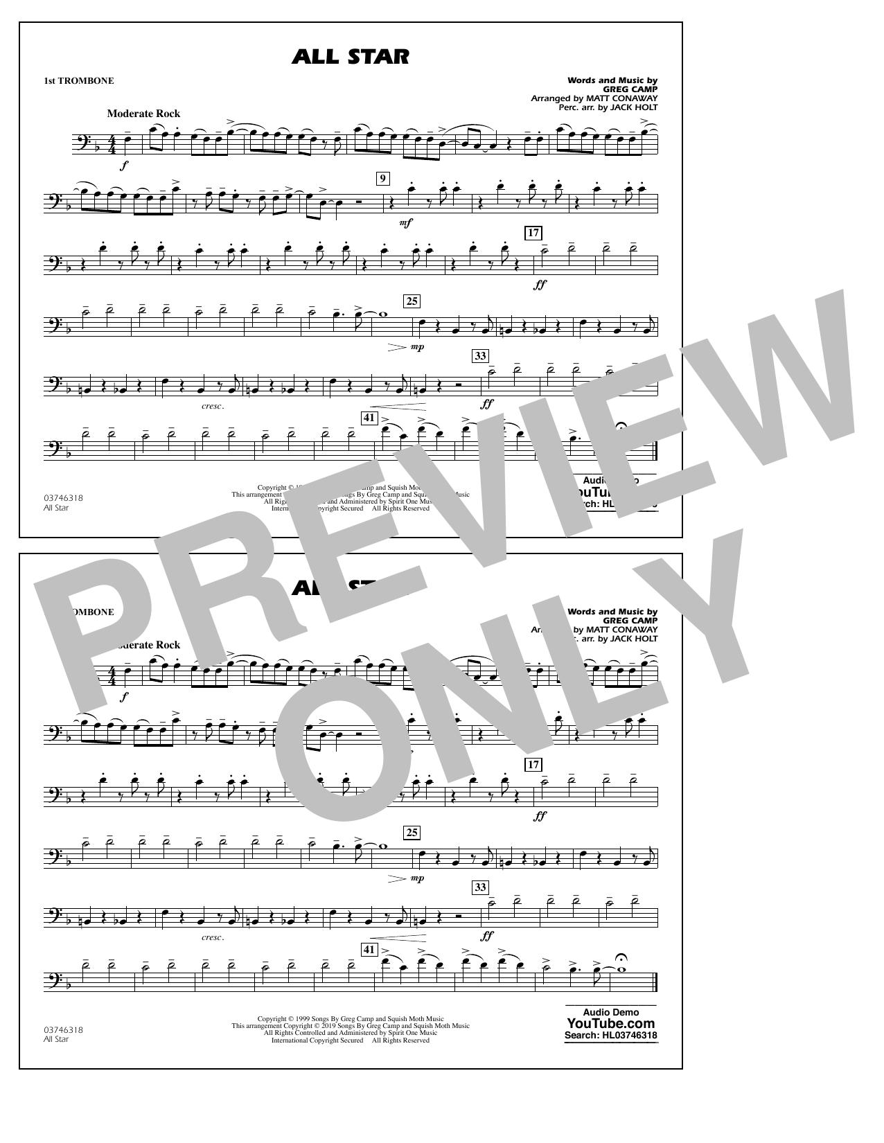 All Star (arr. Matt Conaway) - 1st Trombone (Marching Band)