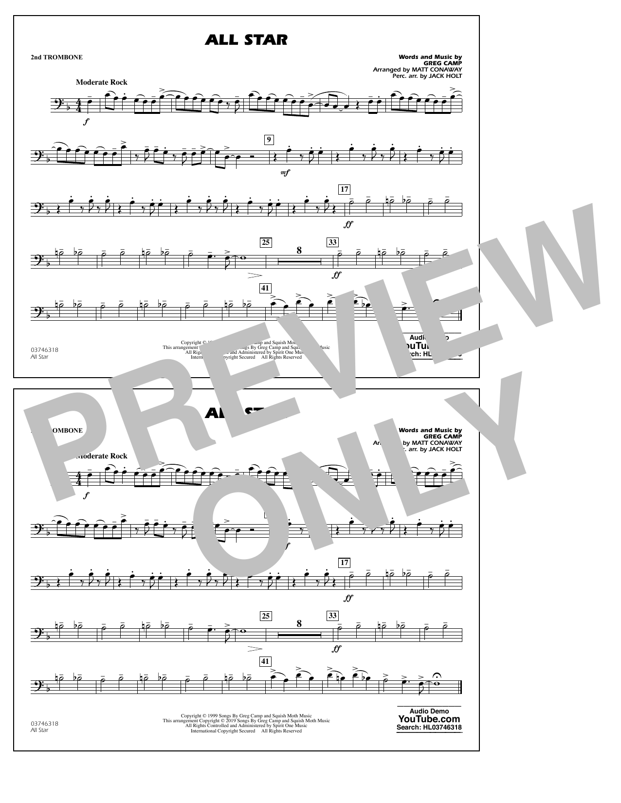 All Star (arr. Matt Conaway) - 2nd Trombone (Marching Band)