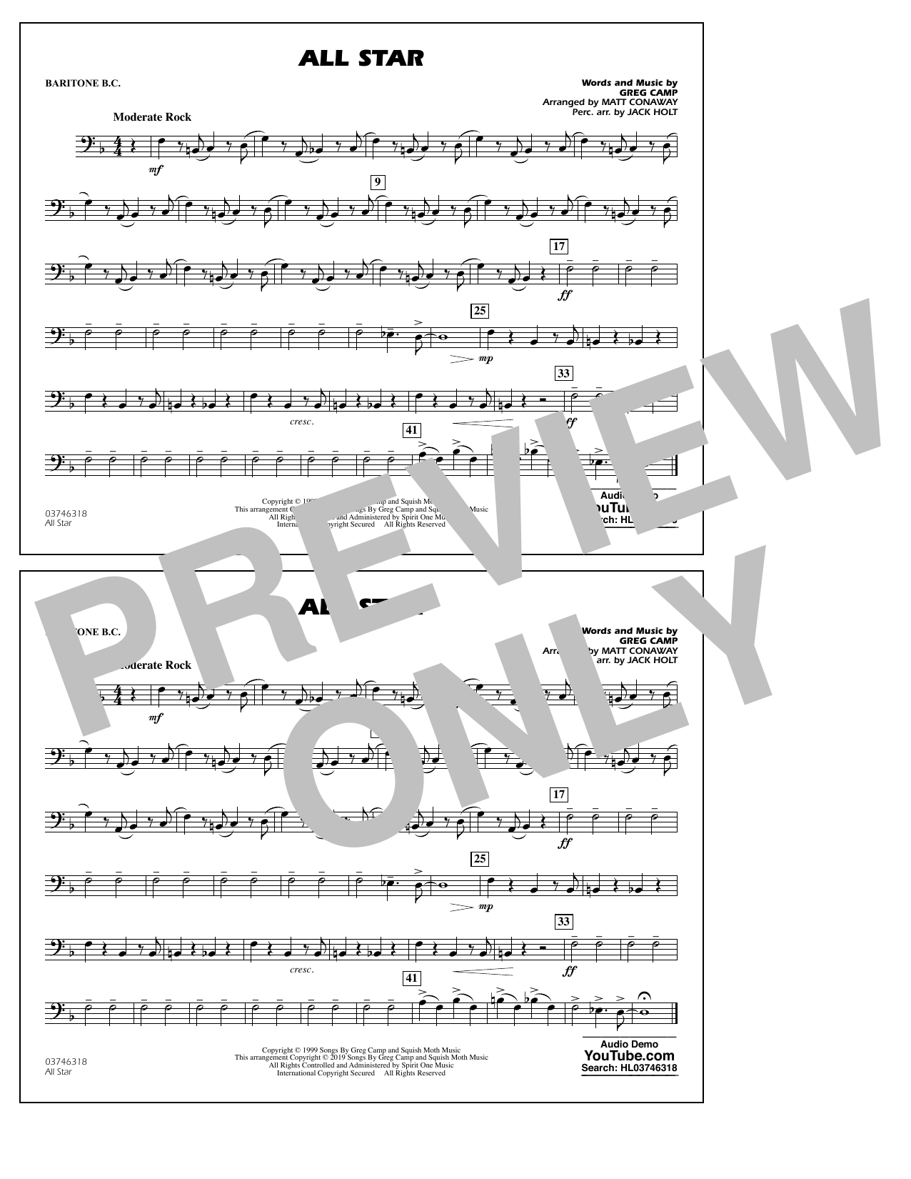 All Star (arr. Matt Conaway) - Baritone B.C. (Marching Band)