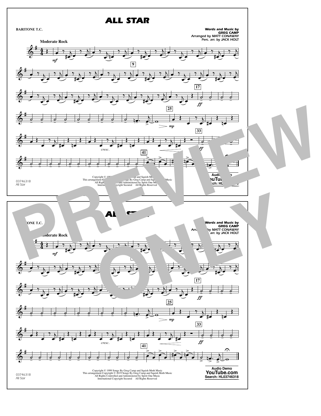All Star (arr. Matt Conaway) - Baritone T.C. (Marching Band)