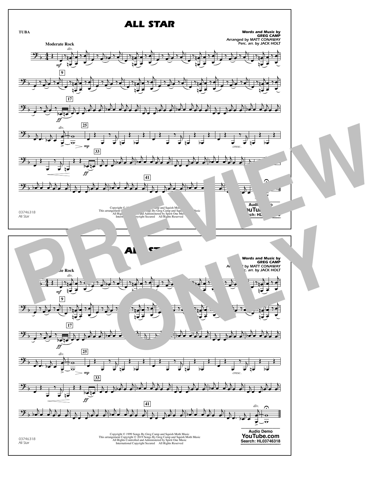 All Star (arr. Matt Conaway) - Tuba (Marching Band)