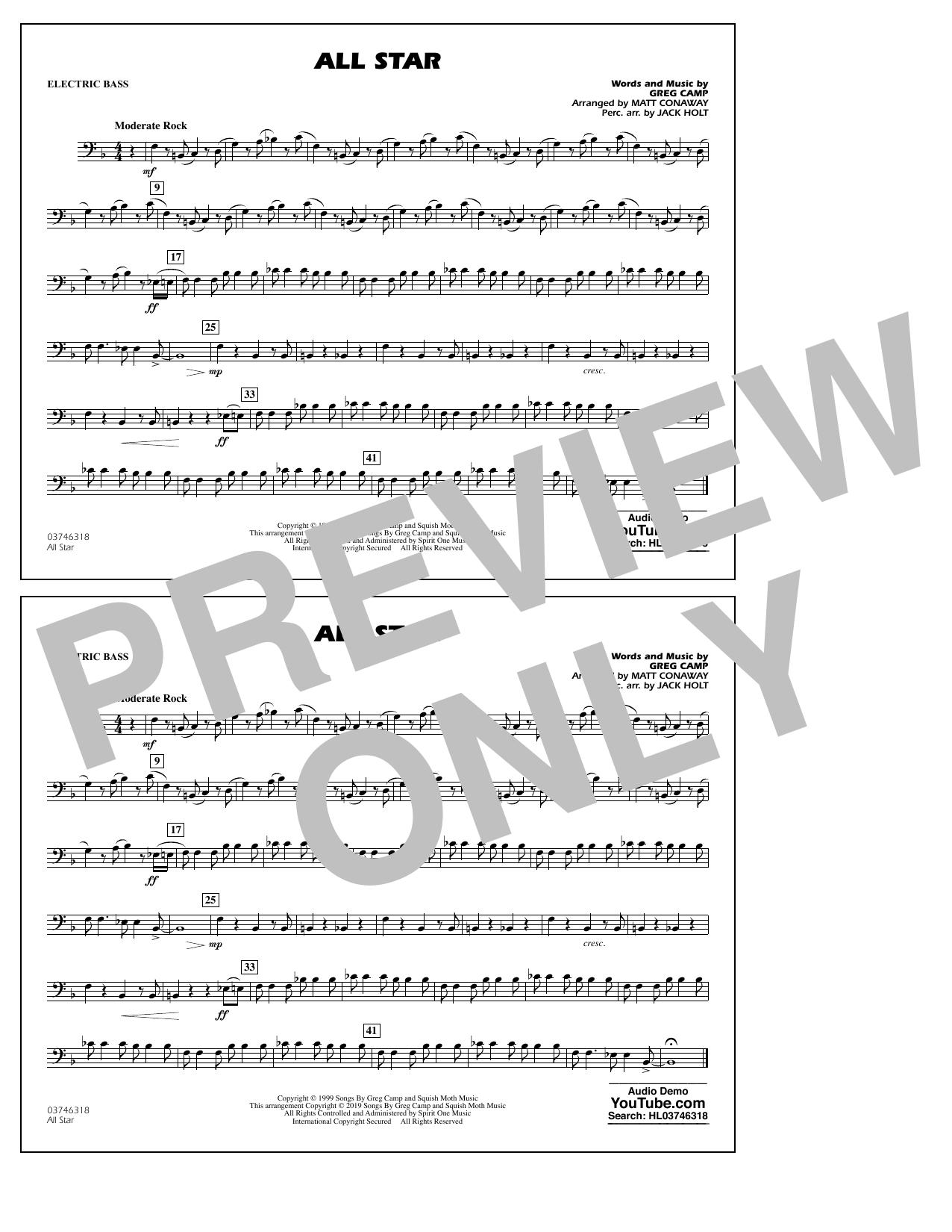 All Star (arr. Matt Conaway) - Electric Bass (Marching Band)